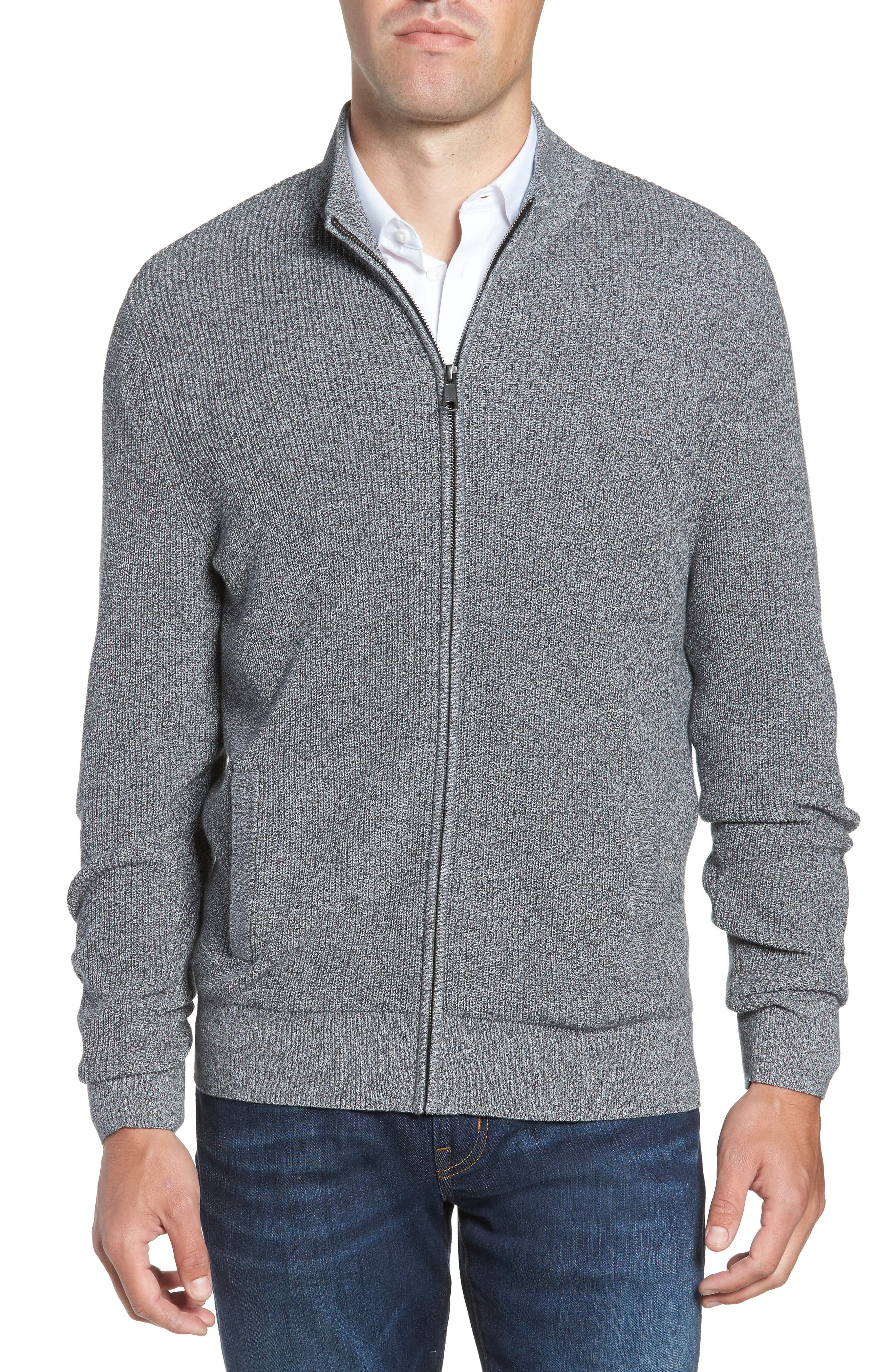 Marled Mock Neck Zip Sweater,                             Main thumbnail 1, color,                             BLACK IVORY MARL