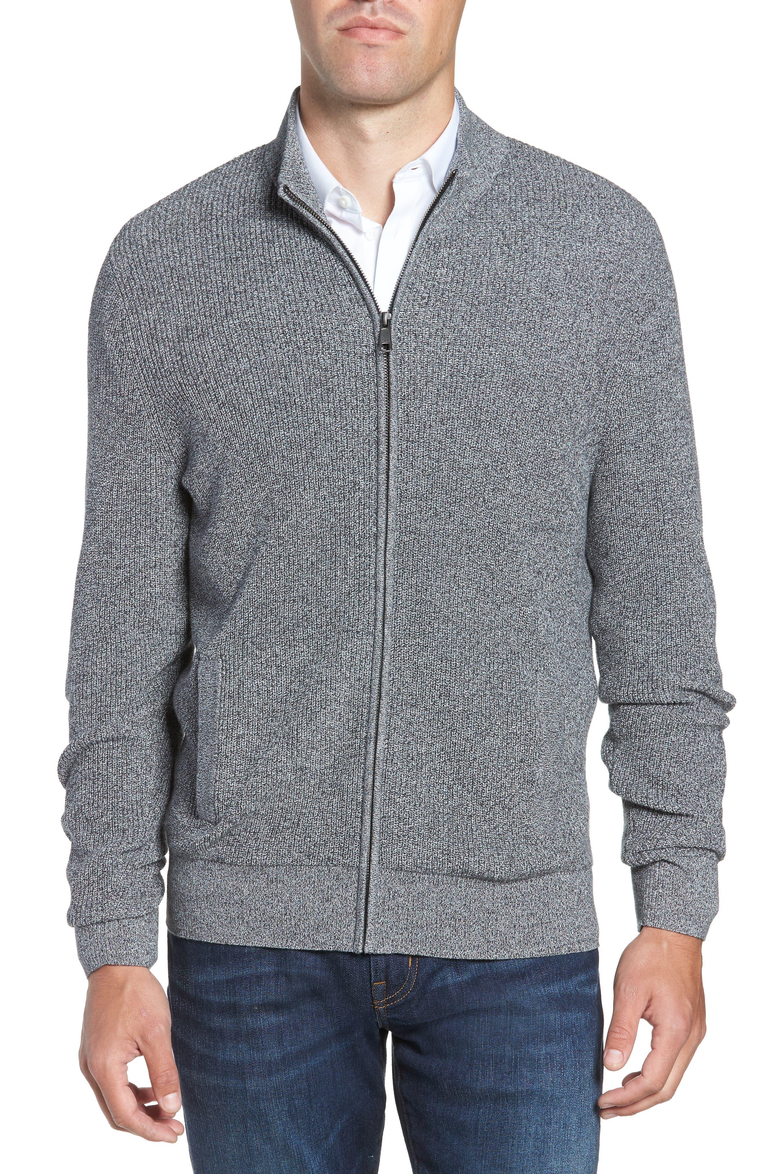 Marled Mock Neck Zip Sweater,                         Main,                         color, BLACK IVORY MARL