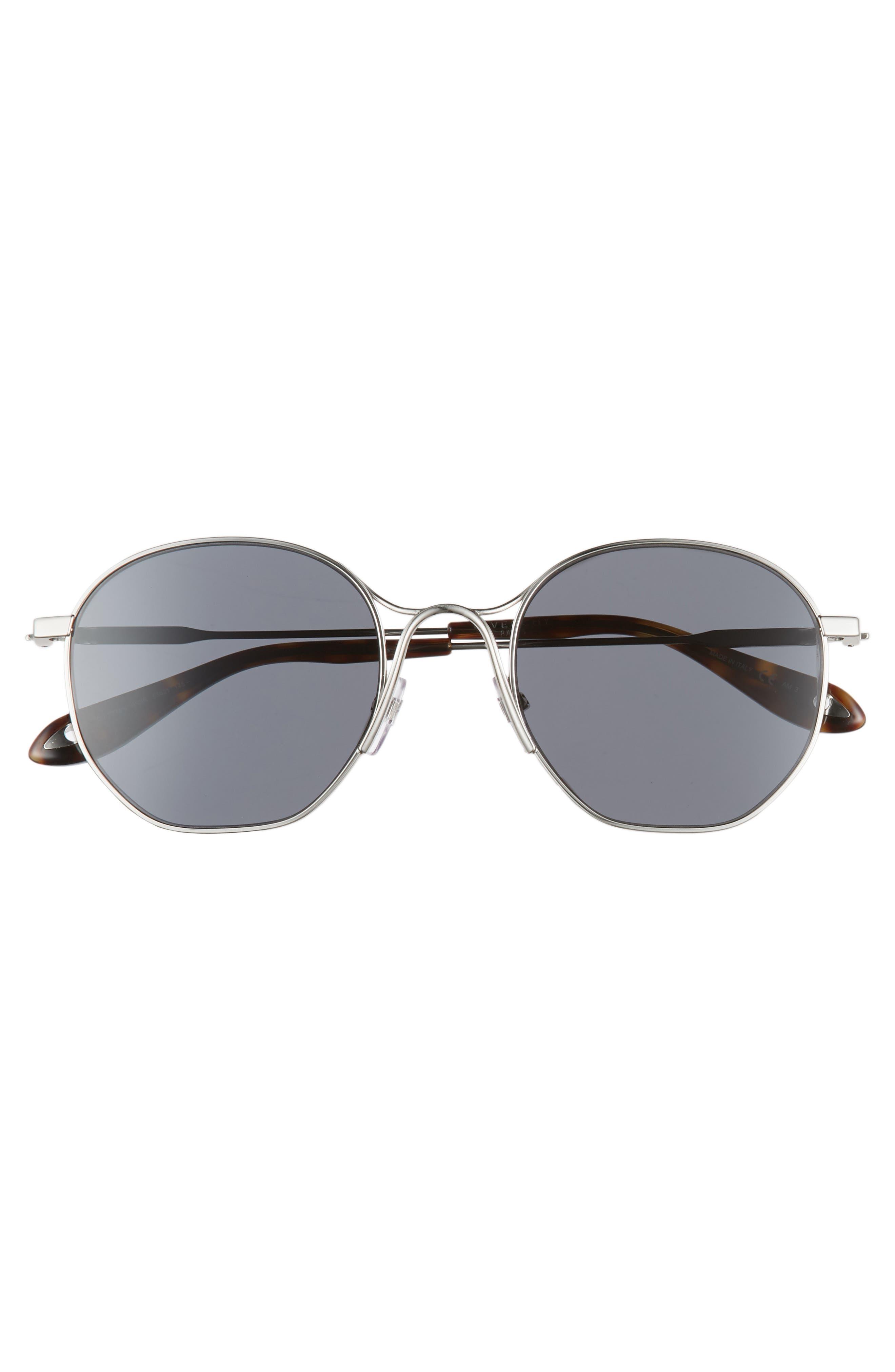 53mm Squared Round Metal Sunglasses,                             Alternate thumbnail 3, color,                             PALLADIUM