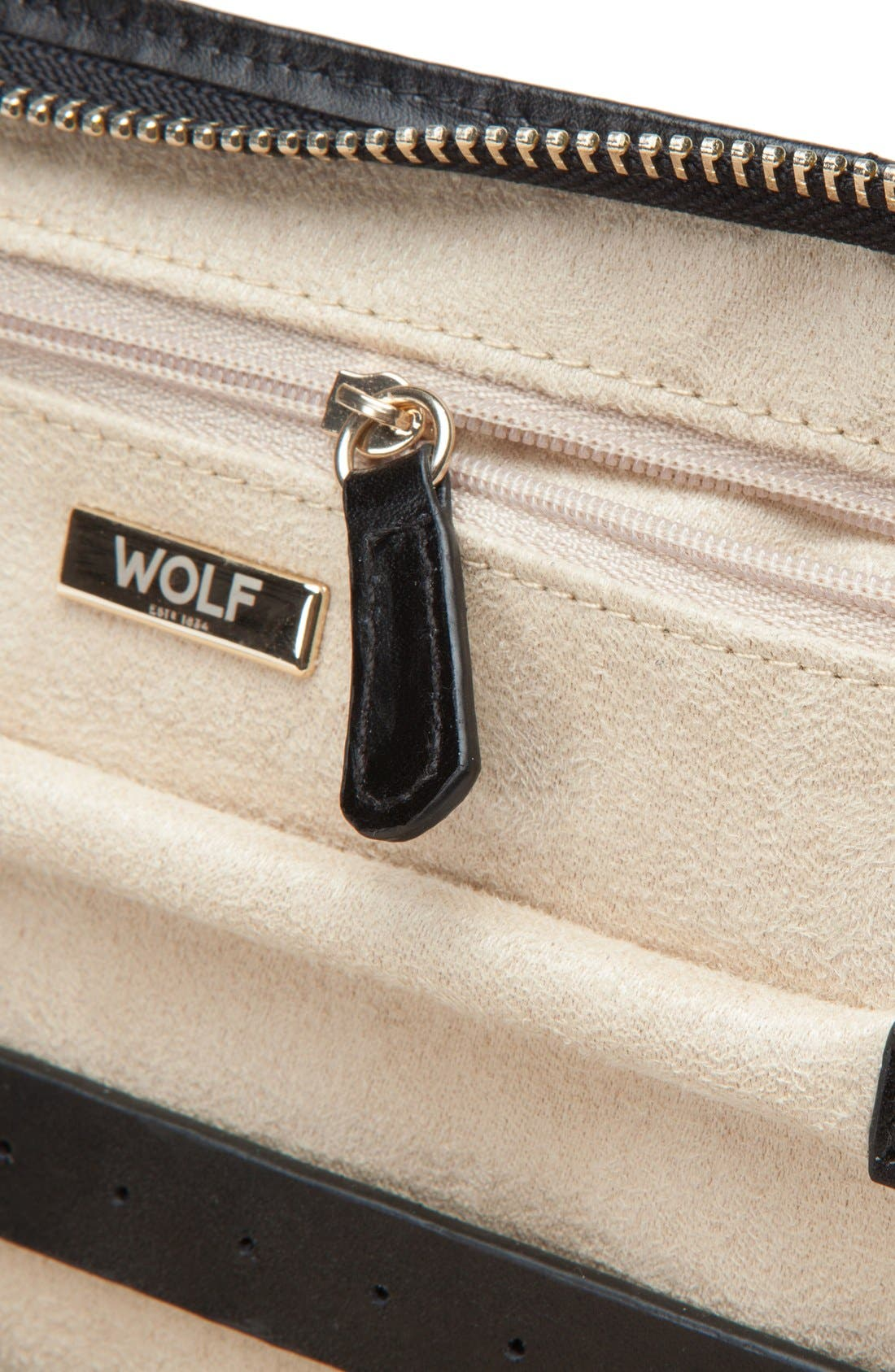 WOLF,                             Caroline Quilted Jewelry Portfolio,                             Alternate thumbnail 3, color,                             BLACK