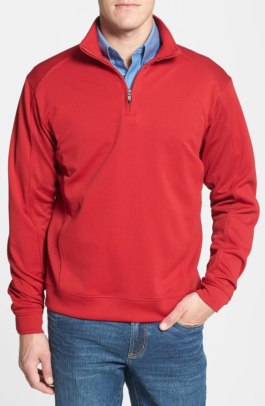 'DryTec<sup>®</sup> Edge' Half Zip Mesh Pullover,                             Main thumbnail 1, color,                             613
