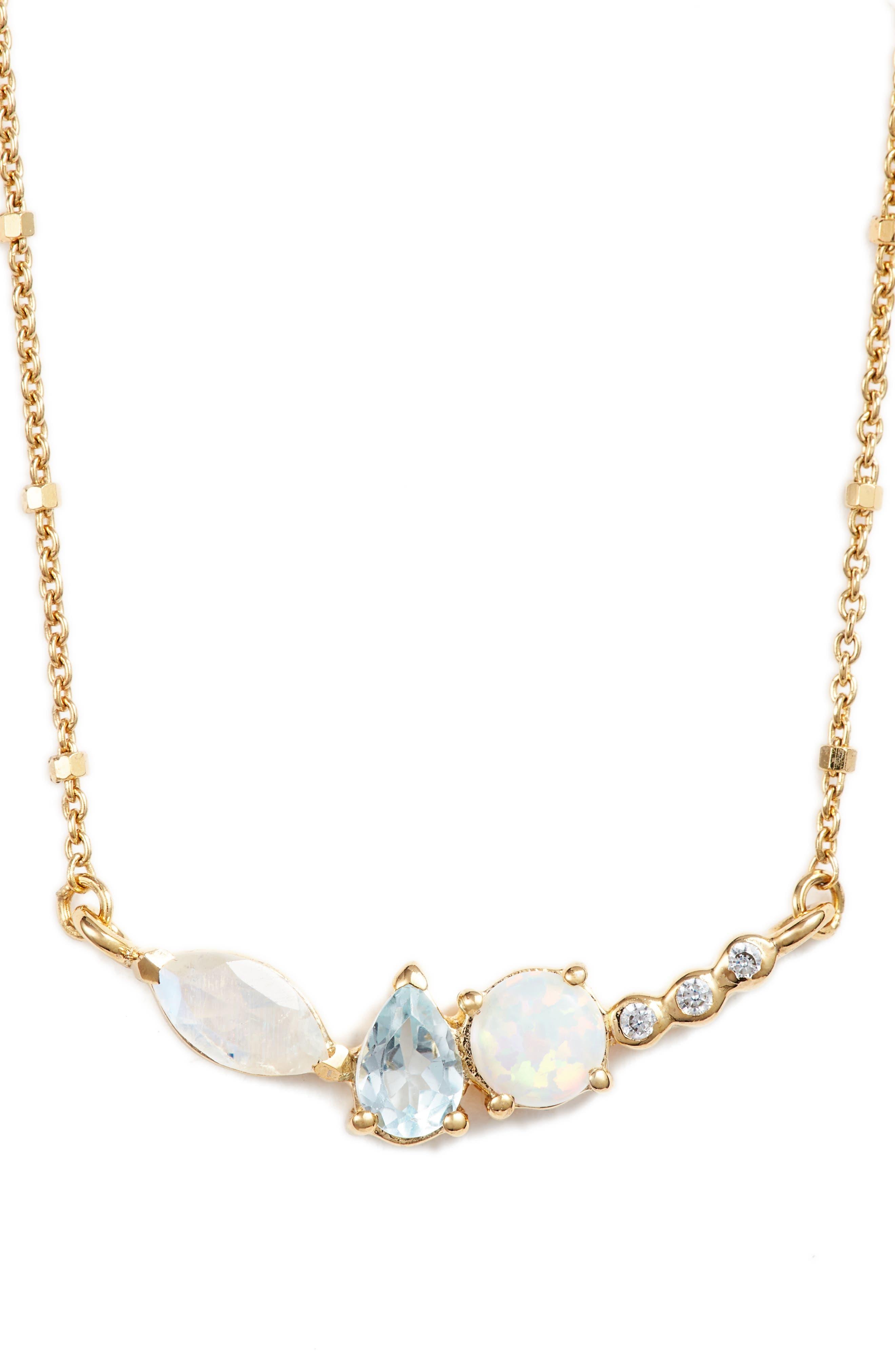Sydney Multi Stone Bar Necklace,                             Main thumbnail 1, color,                             710