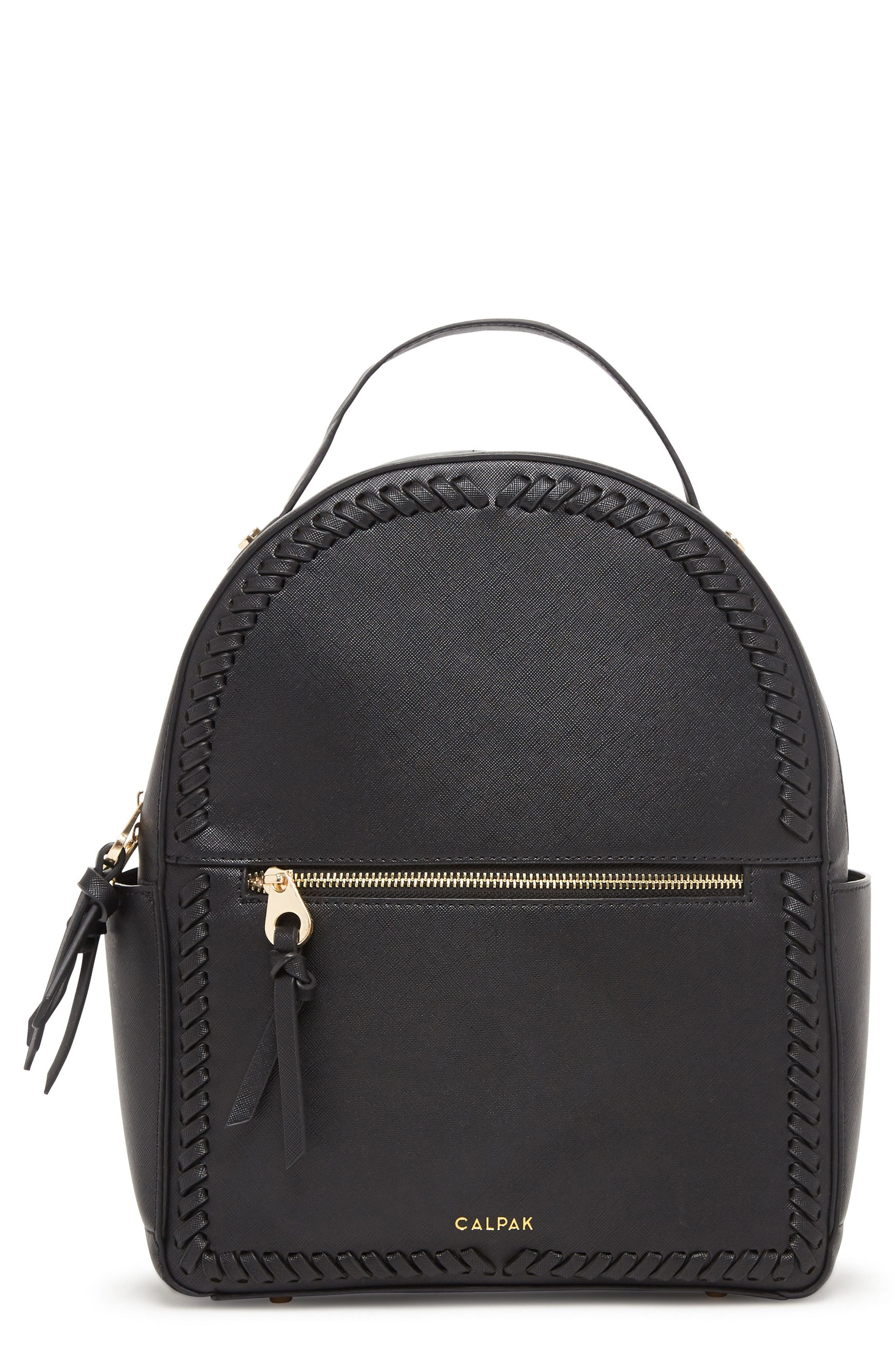 Kaya Faux Leather Round Backpack,                         Main,                         color, BLACK