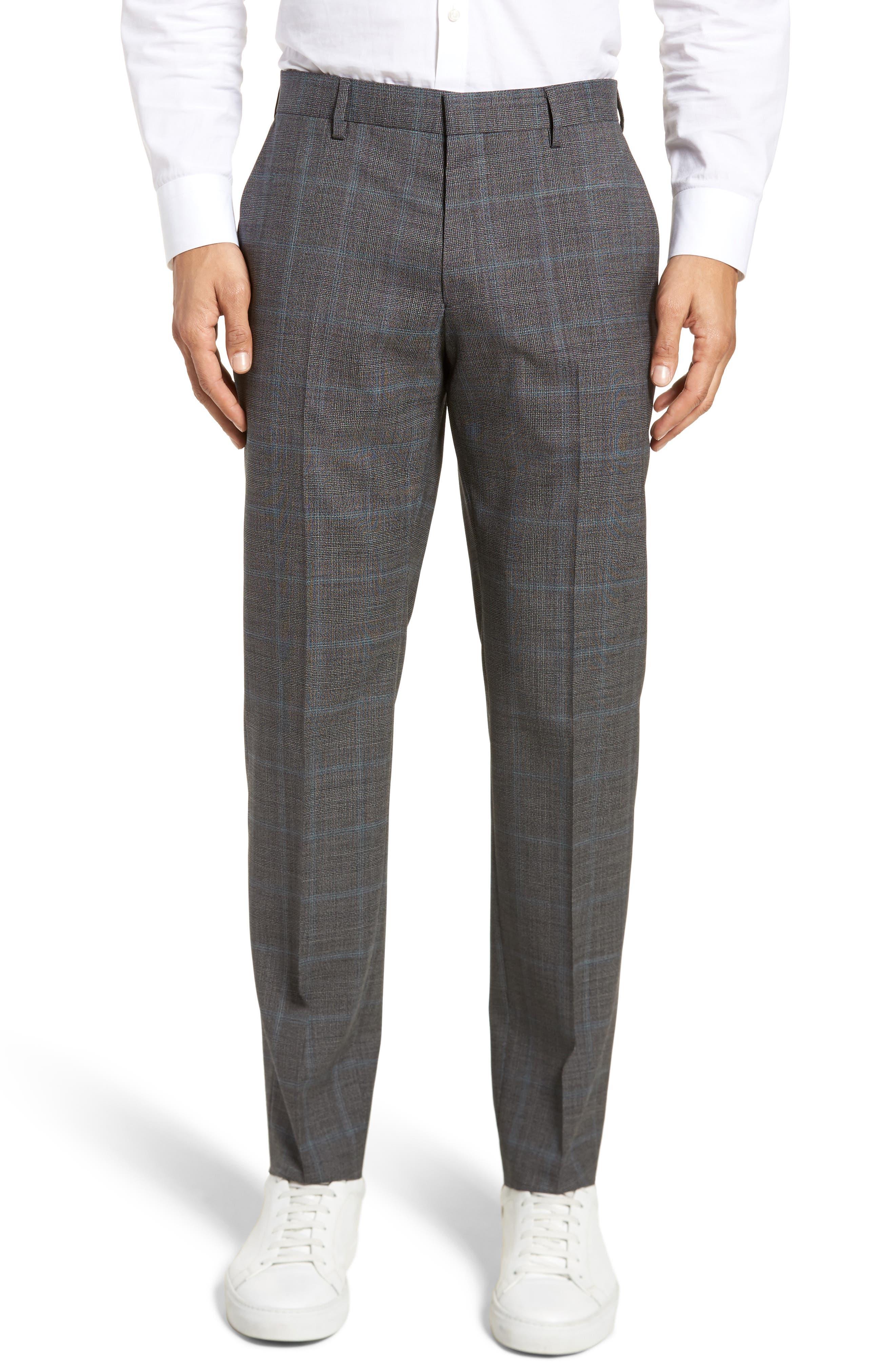 Genesis Flat Front Plaid Wool Trousers,                             Main thumbnail 1, color,                             061