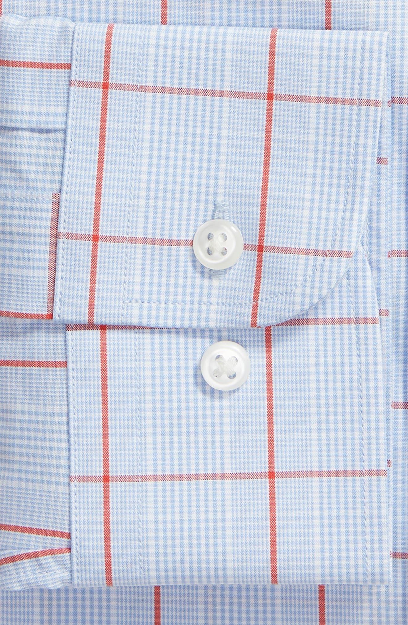Tech-Smart Trim Fit Stretch Check Dress Shirt,                             Alternate thumbnail 6, color,                             RED SAUCY