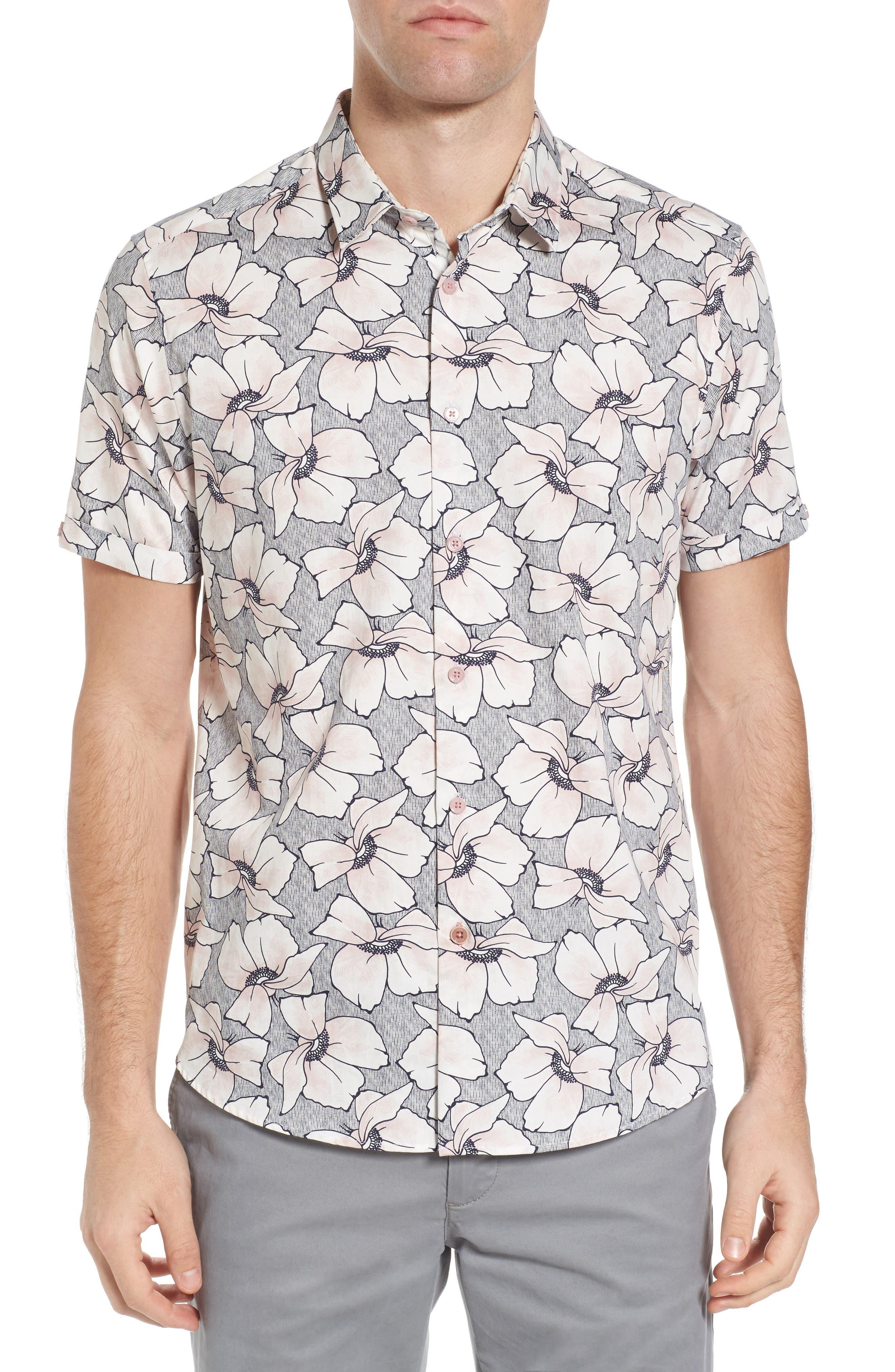 TED BAKER LONDON,                             Bigflo Floral Short Sleeve Sport Shirt,                             Main thumbnail 1, color,                             683