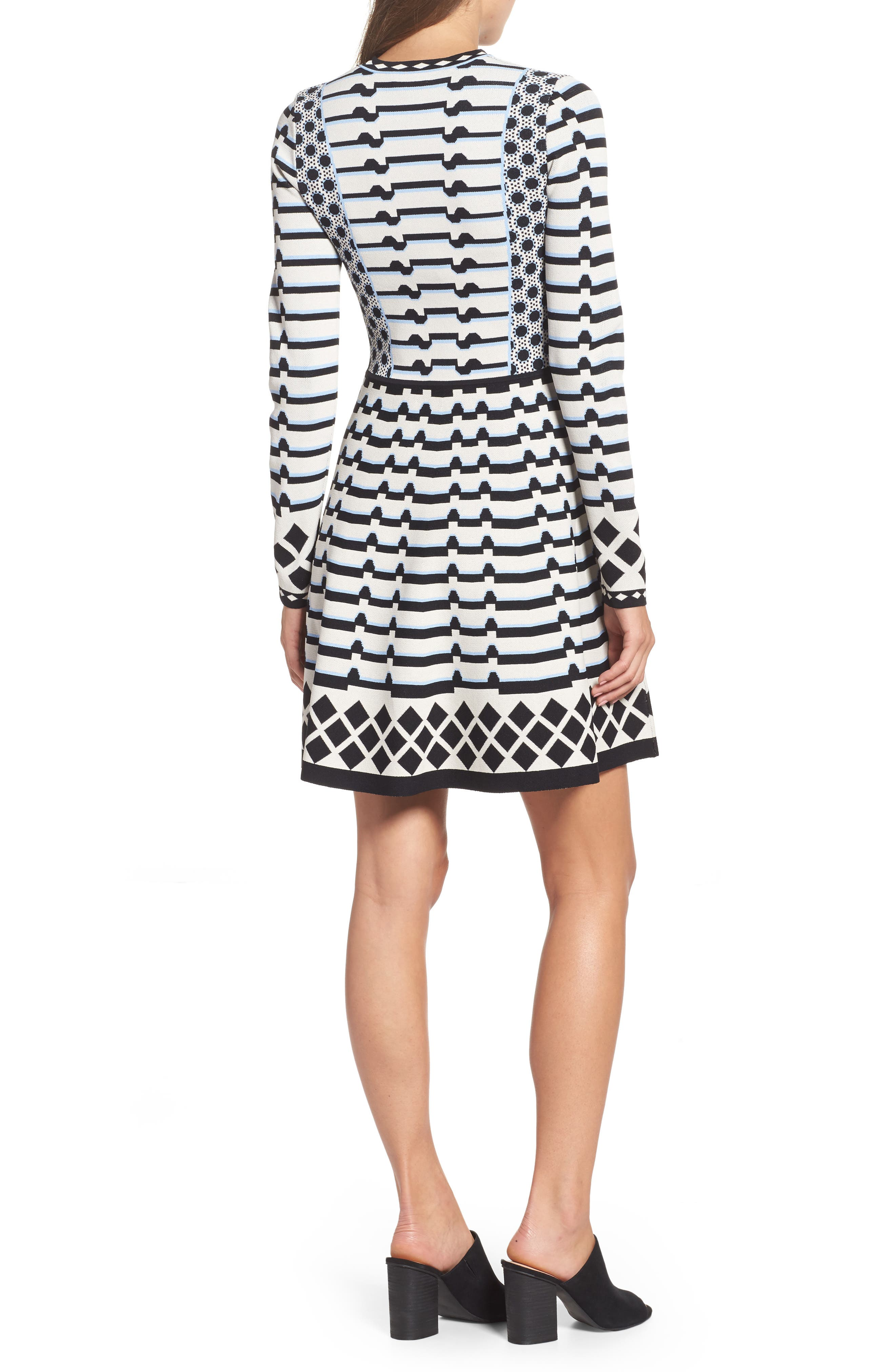 Stripe Knit Fit & Flare Dress,                             Alternate thumbnail 2, color,                             302
