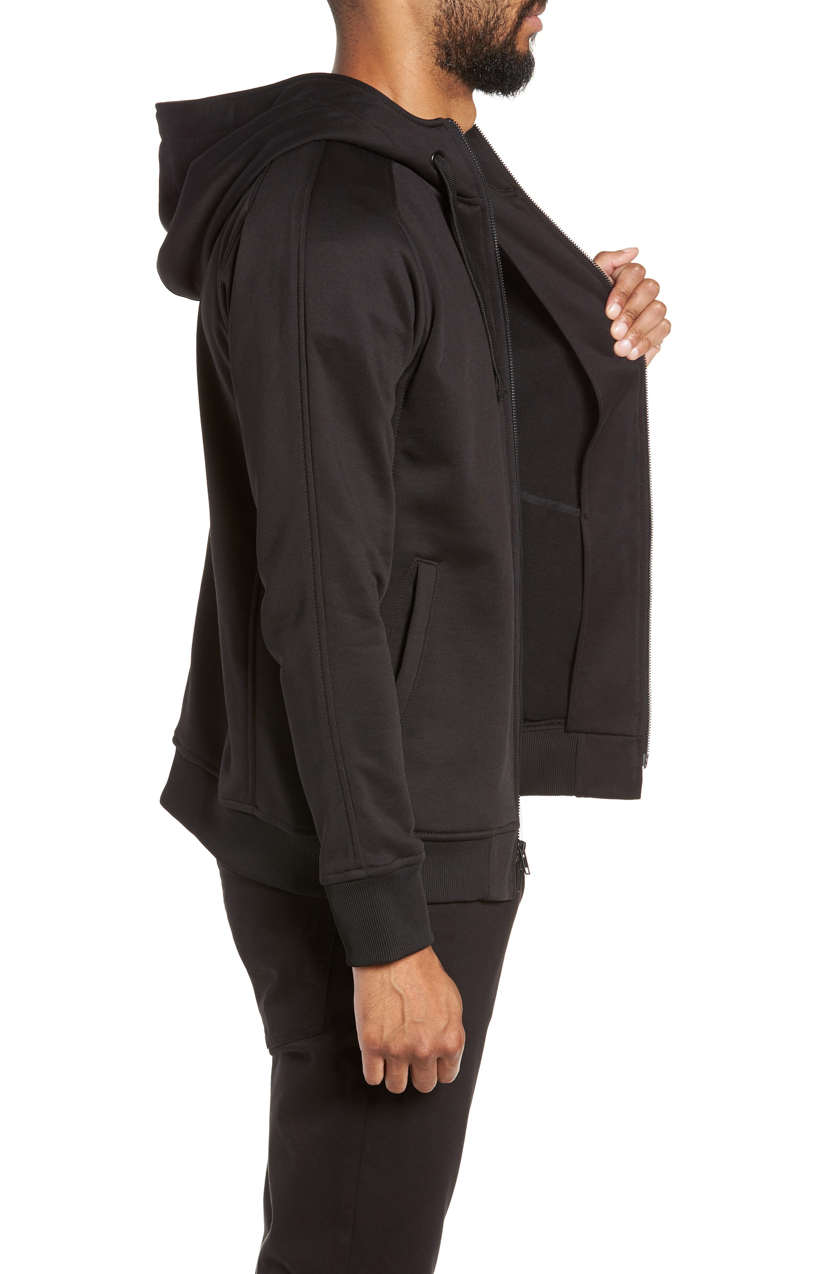 The Lux Trim Fit Full Zip Hoodie,                             Alternate thumbnail 3, color,                             BLACK