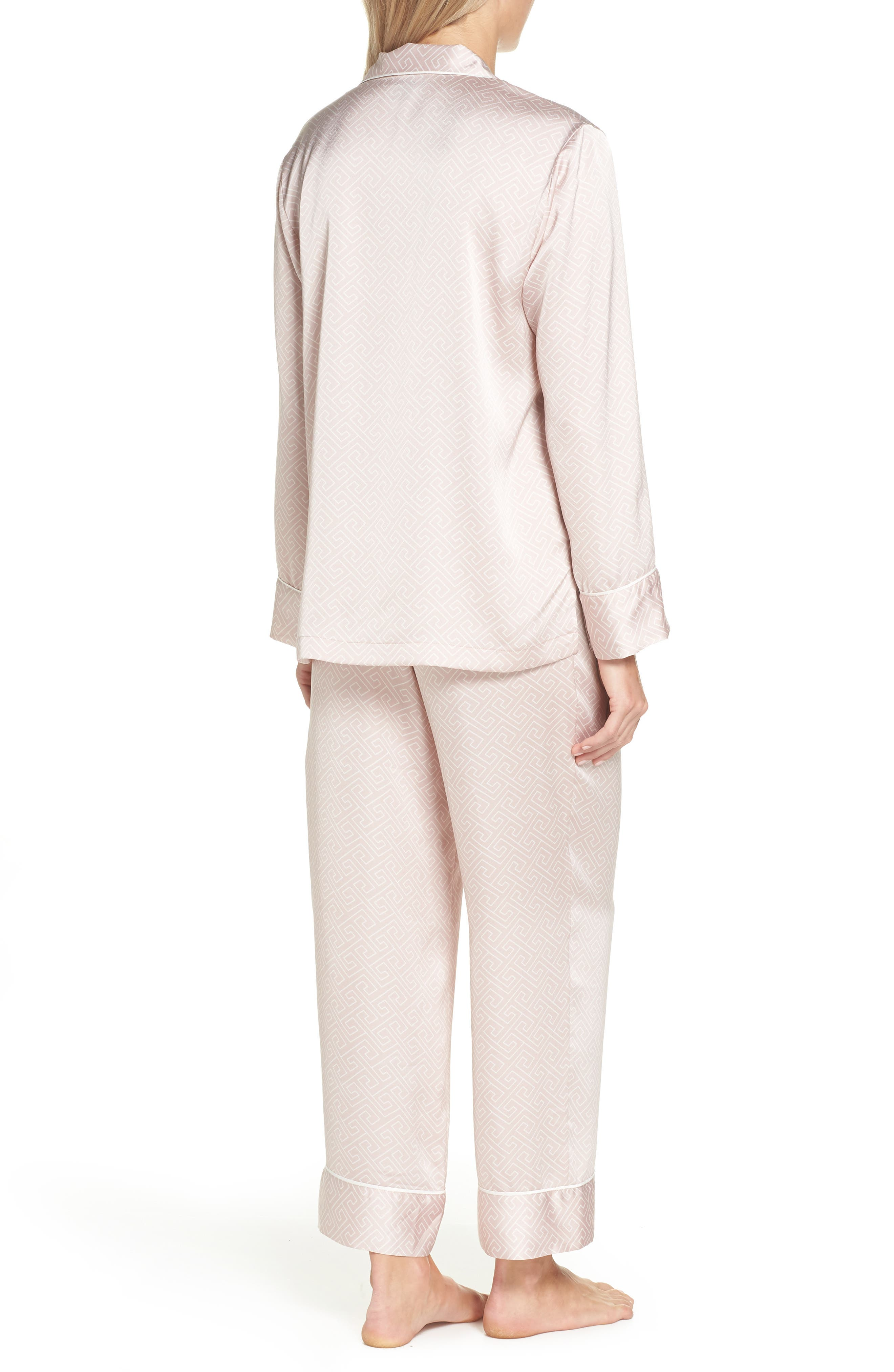 Labyrinth Satin Pajamas,                             Alternate thumbnail 2, color,                             ROSE BEIGE