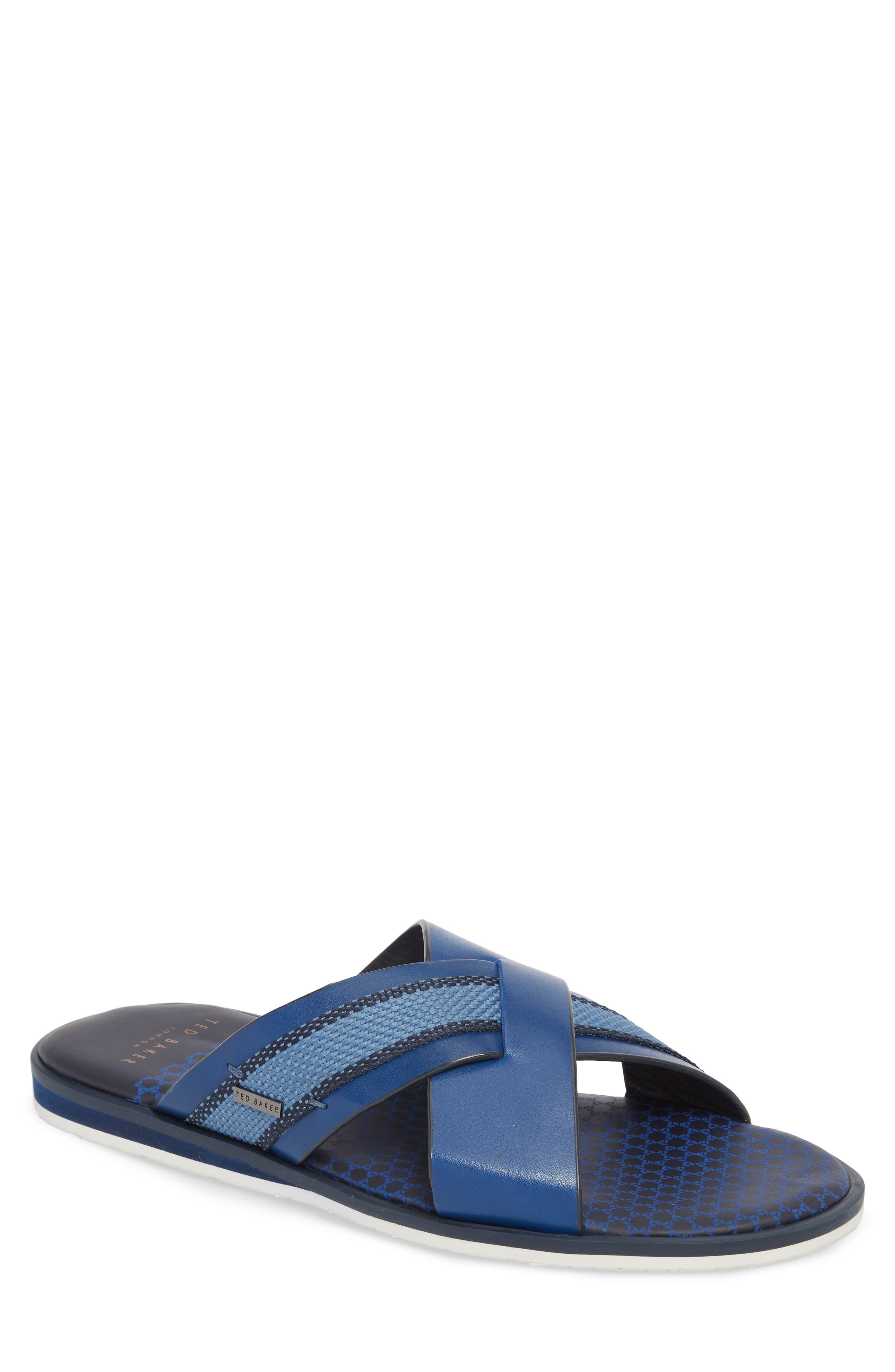Farrull Cross Strap Slide Sandal,                             Main thumbnail 1, color,                             BLUE LEATHER/TEXTILE