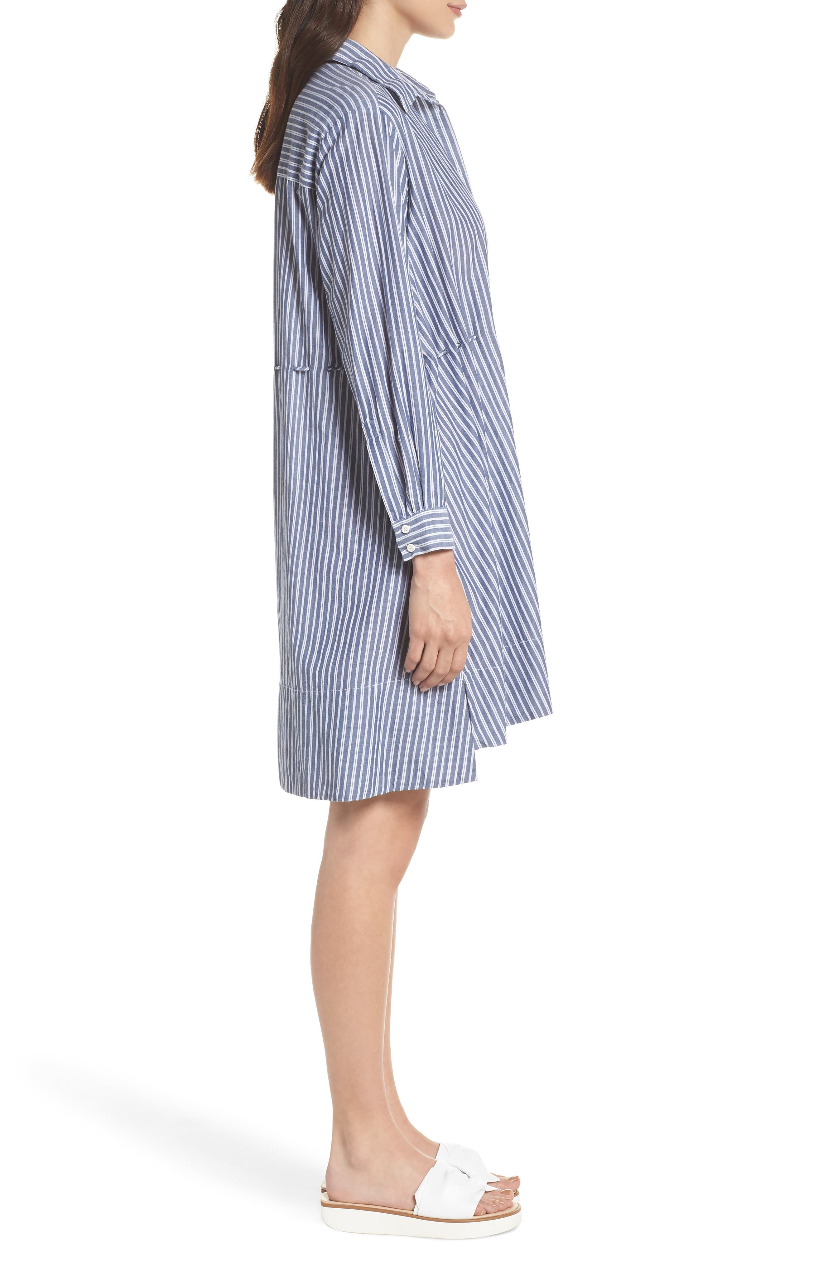Tatus Stripe Drawstring Cotton Shirtdress,                             Alternate thumbnail 3, color,                             452