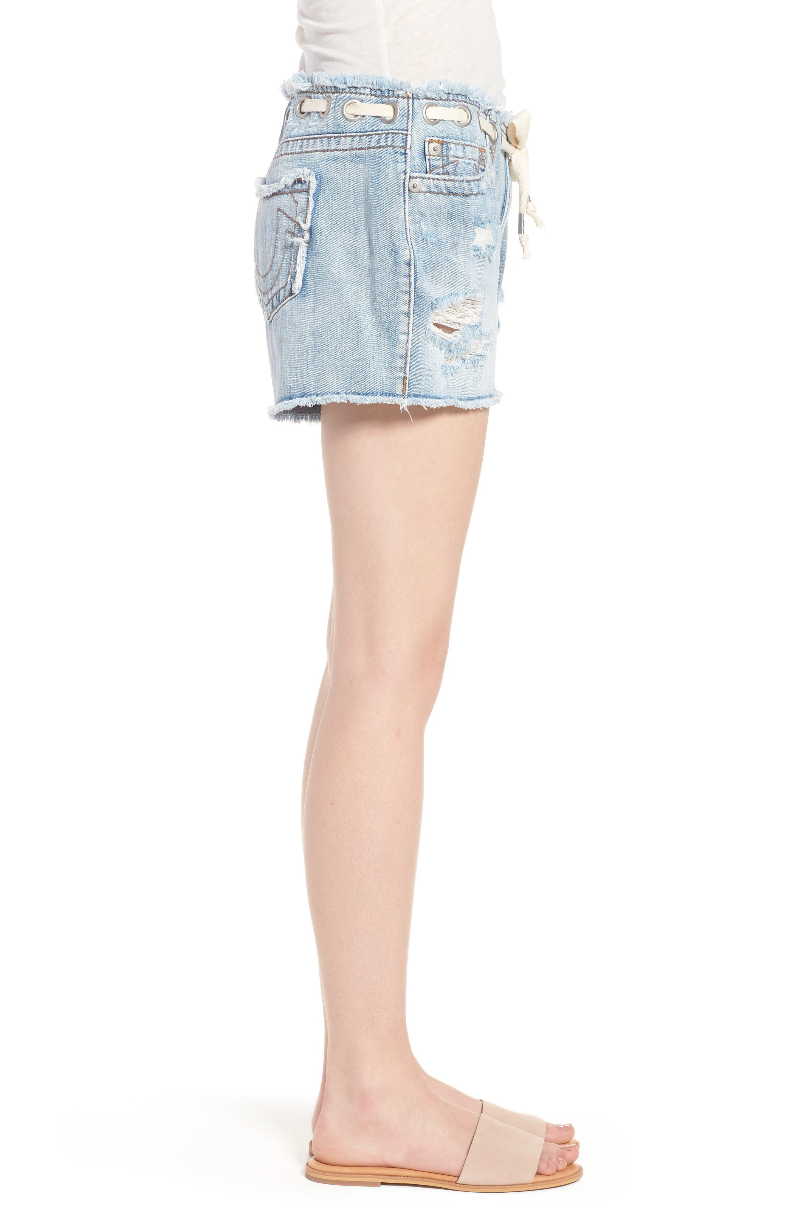 Fashion Distressed Denim Shorts,                             Alternate thumbnail 3, color,                             401