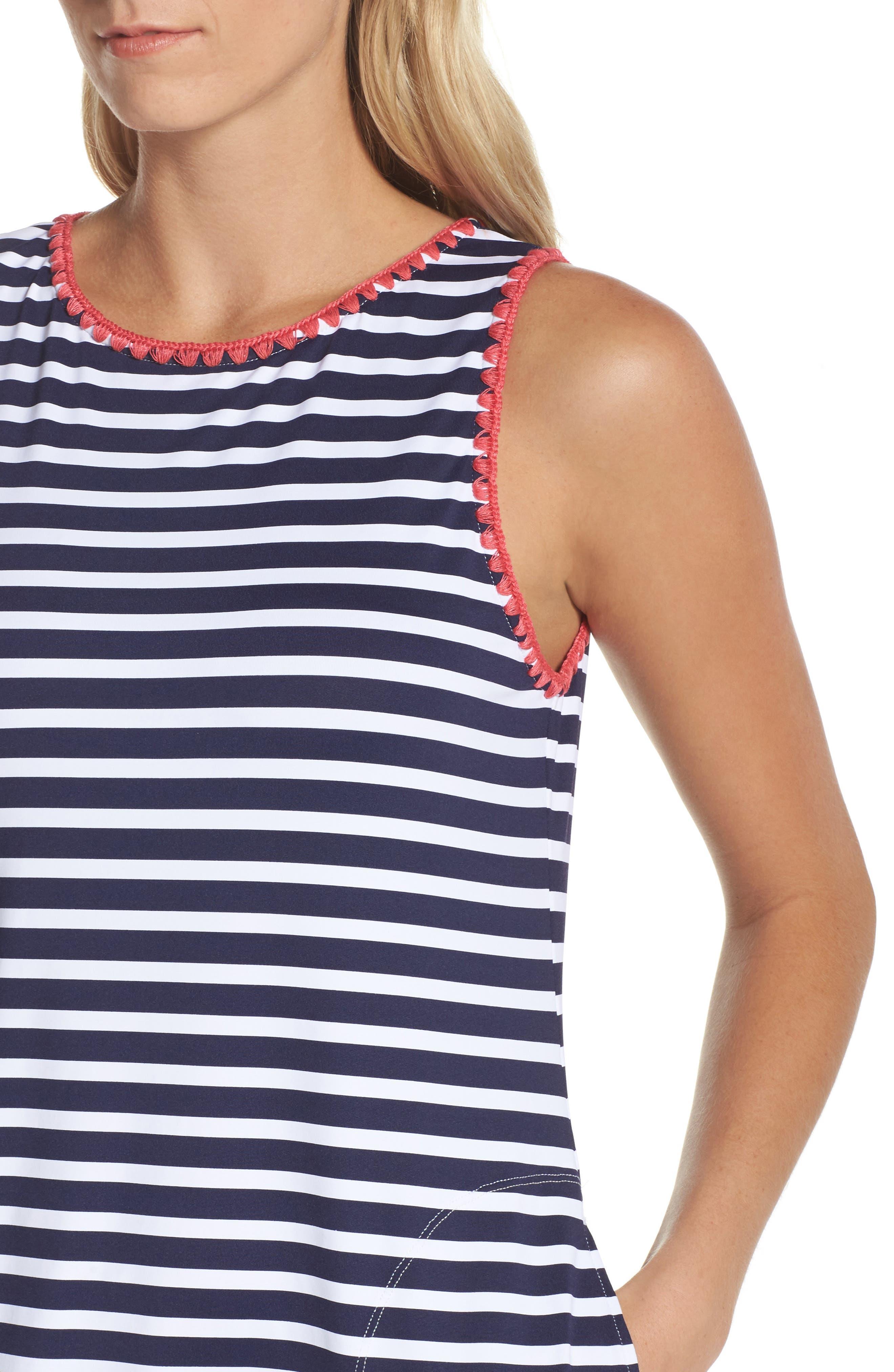 Breton Stripe Cover-Up Dress,                             Alternate thumbnail 4, color,                             MARE NAVY/ WHITE