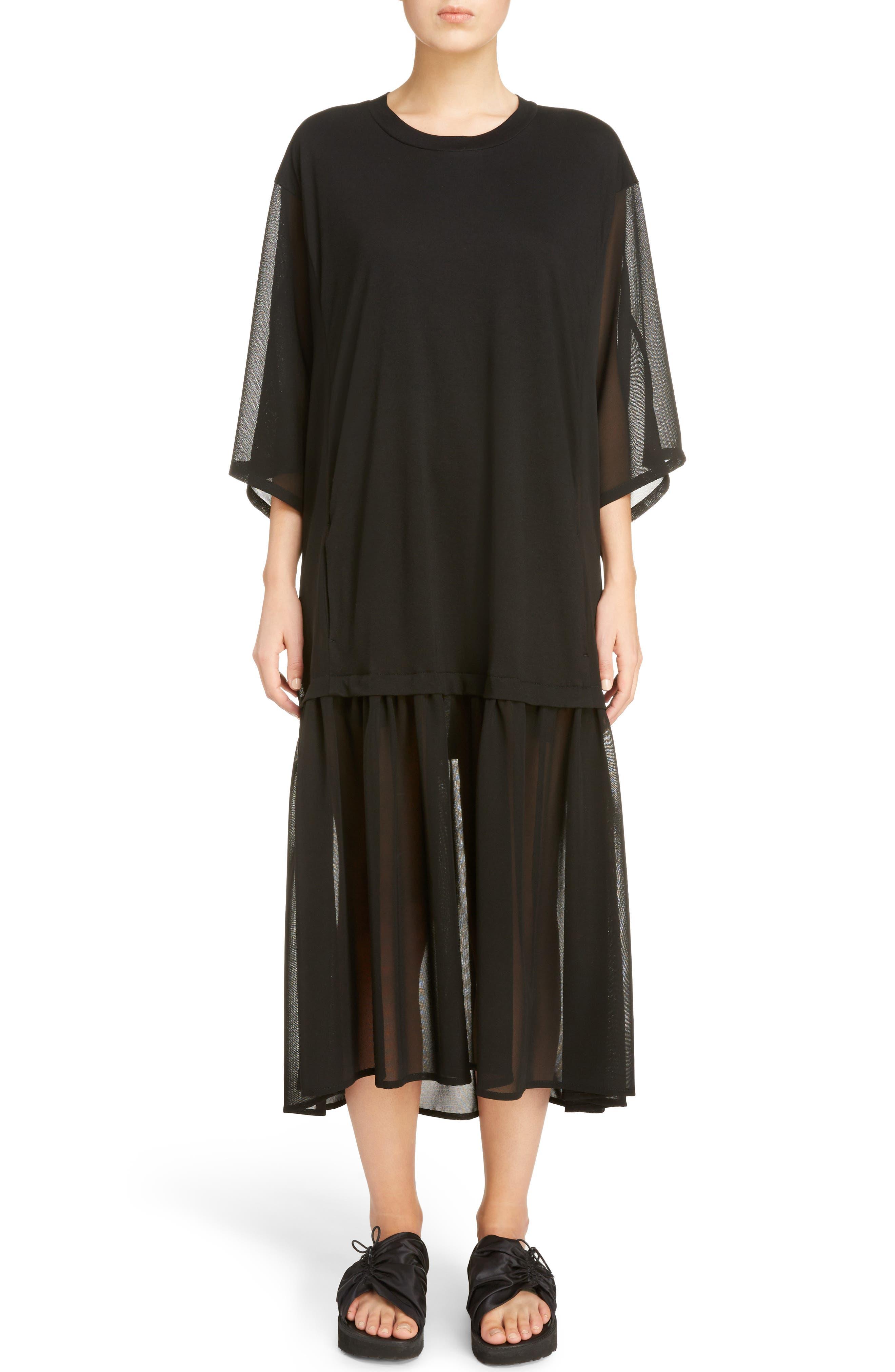 Sheer Hem T-Shirt Dress,                         Main,                         color, 001