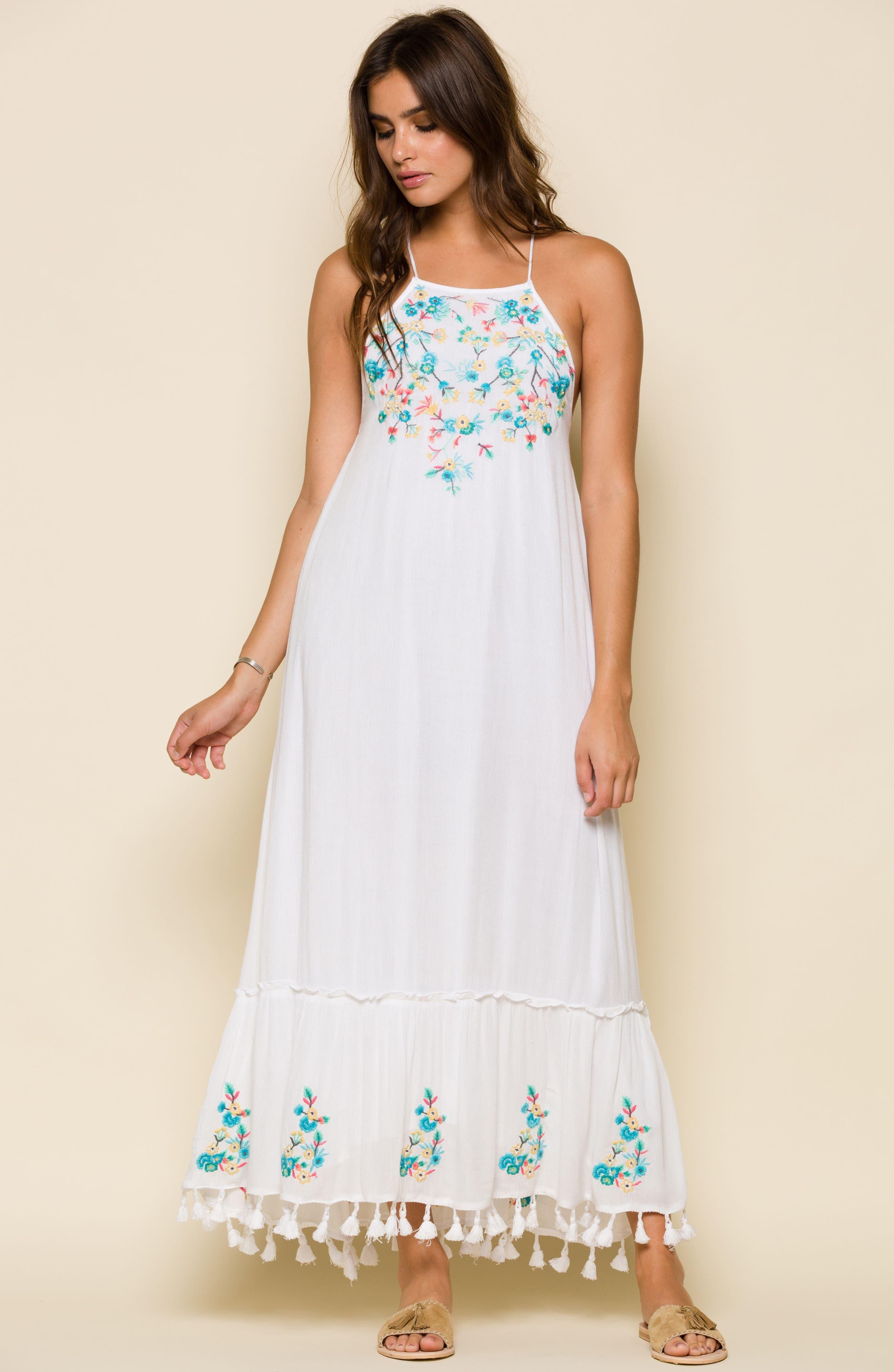 Ashlyn Embroidered Tassel Trim Maxi Dress,                             Alternate thumbnail 7, color,                             100