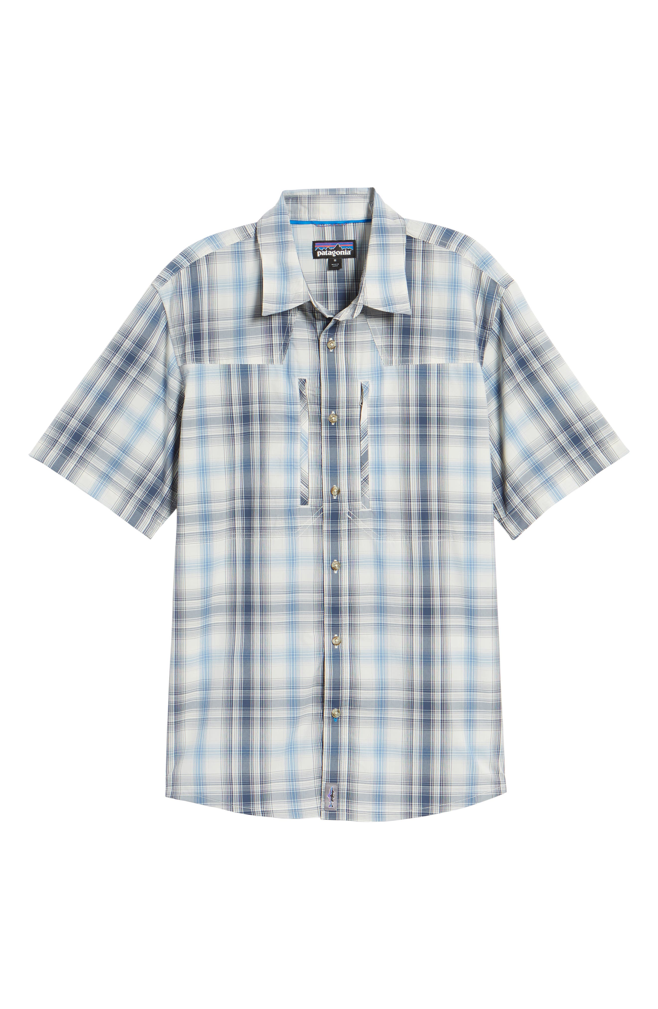 M's Sun Plaid Stretch Hybrid Shirt,                             Alternate thumbnail 6, color,                             KING SWING RADAR BLUE