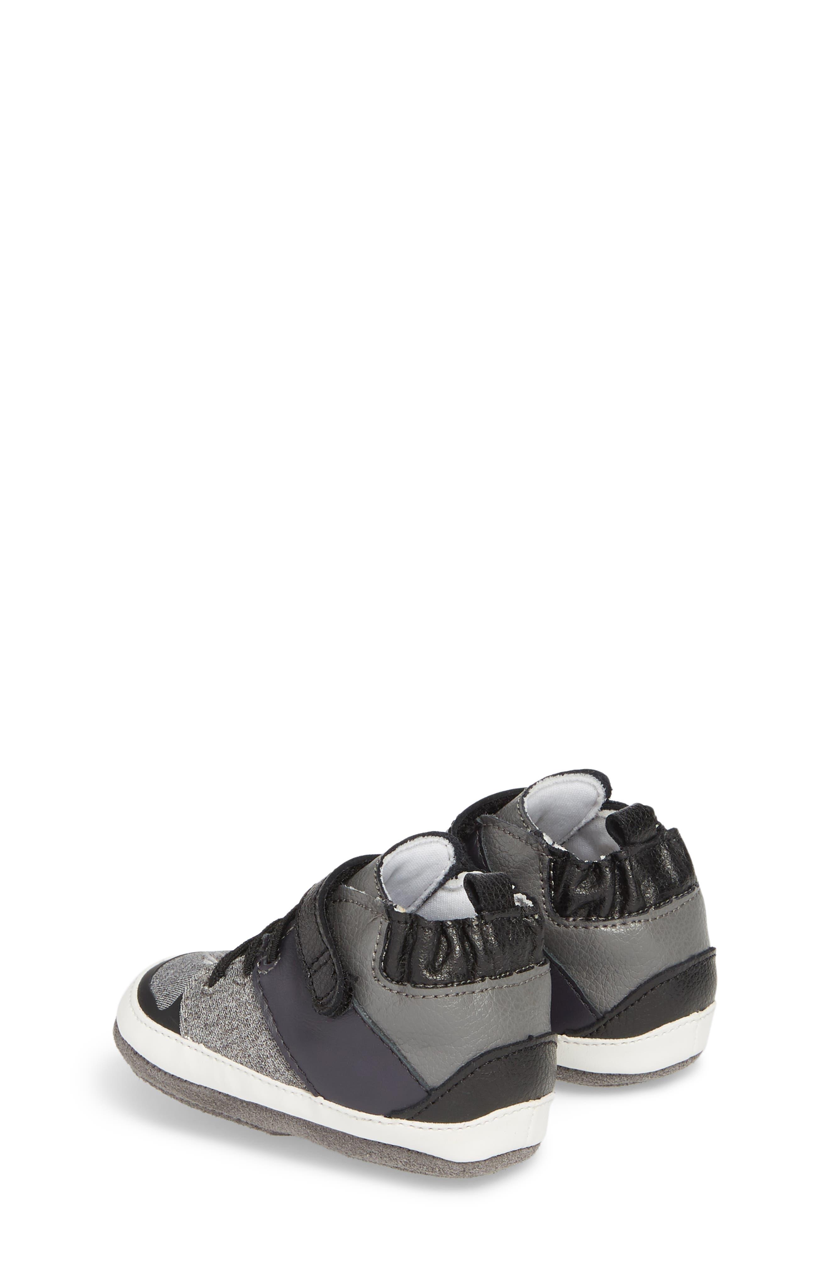 Zachary High Top Crib Sneaker,                             Alternate thumbnail 2, color,                             BLACK
