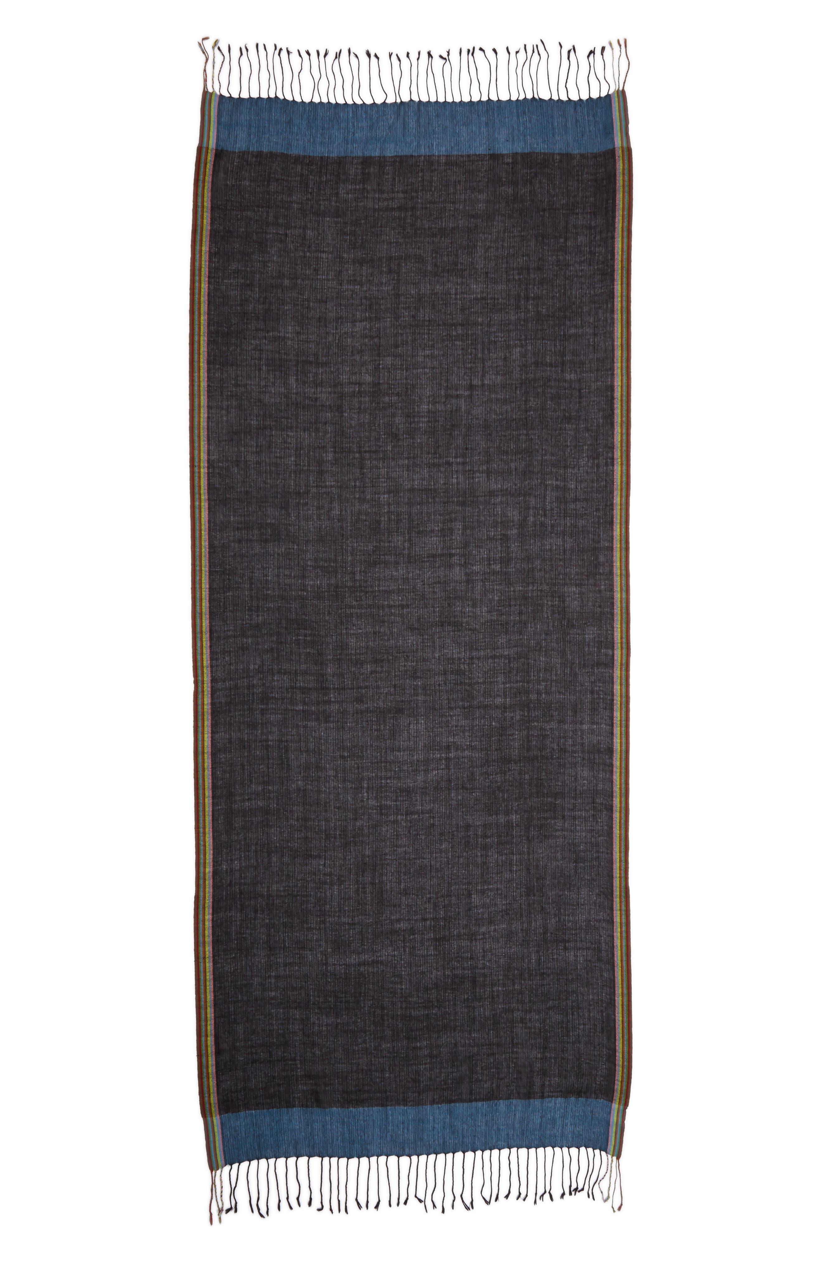 Stripe Herringbone Wool Scarf,                             Alternate thumbnail 2, color,                             001