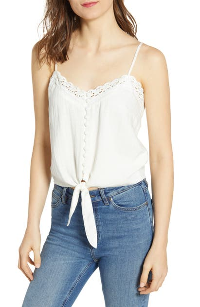Heartloom Tops OAKLYN LACE DETAIL TIE FRONT CAMISOLE