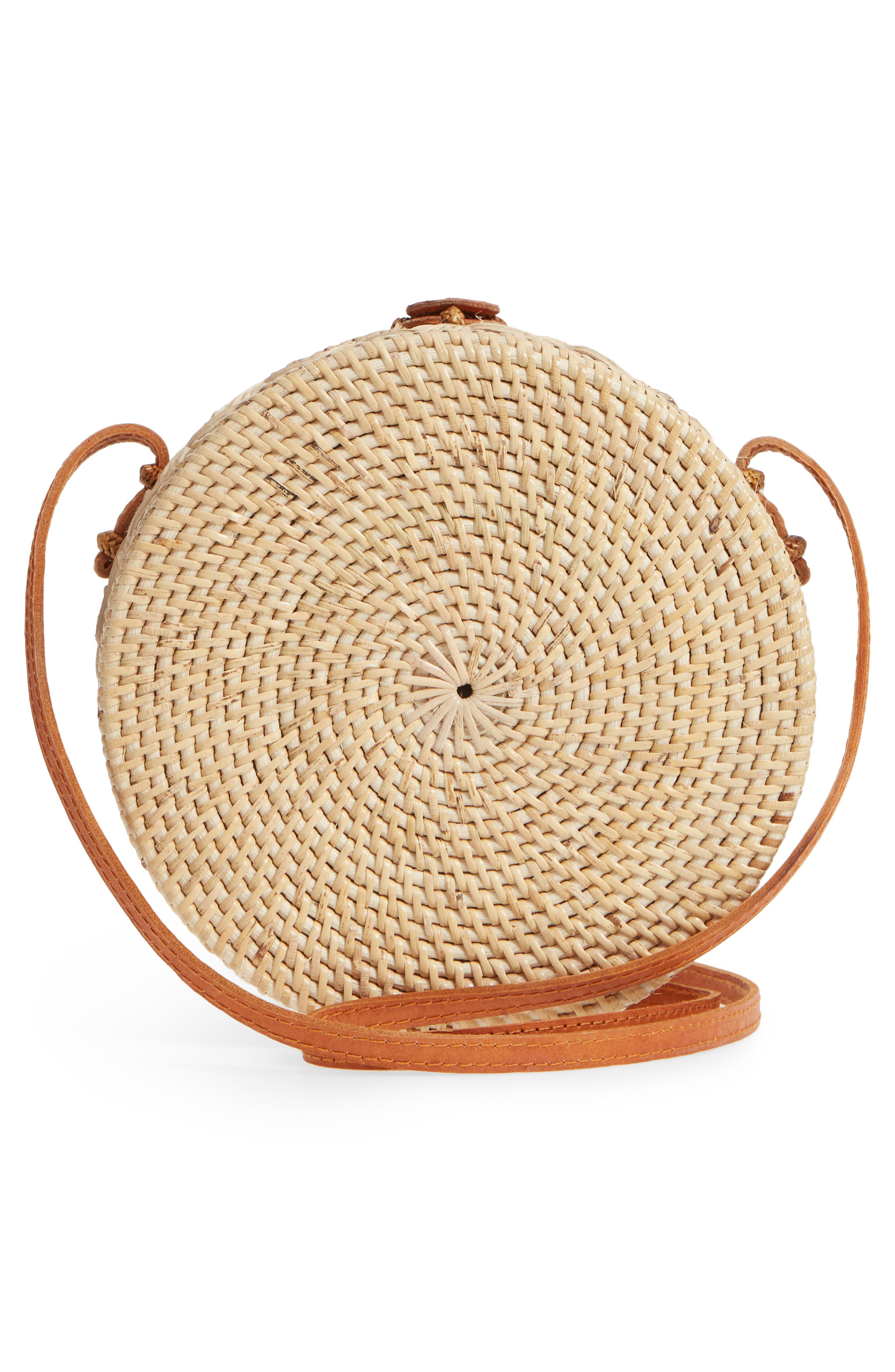 Woven Rattan Circle Crossbody Bag,                             Alternate thumbnail 3, color,                             LIGHTER TAN/ NATURAL