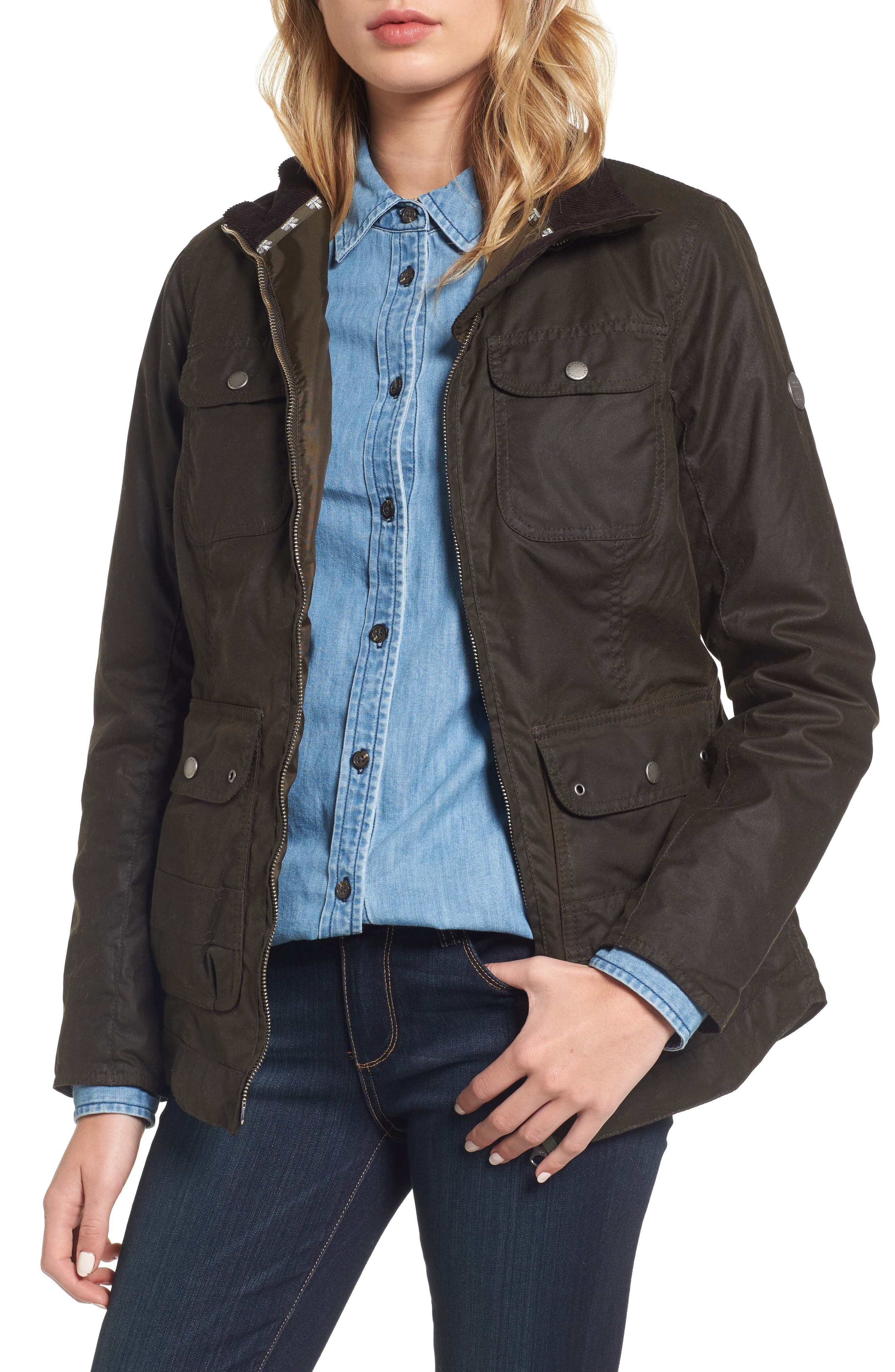 BARBOUR,                             Filey Water Resistant Waxed Canvas Jacket,                             Main thumbnail 1, color,                             340