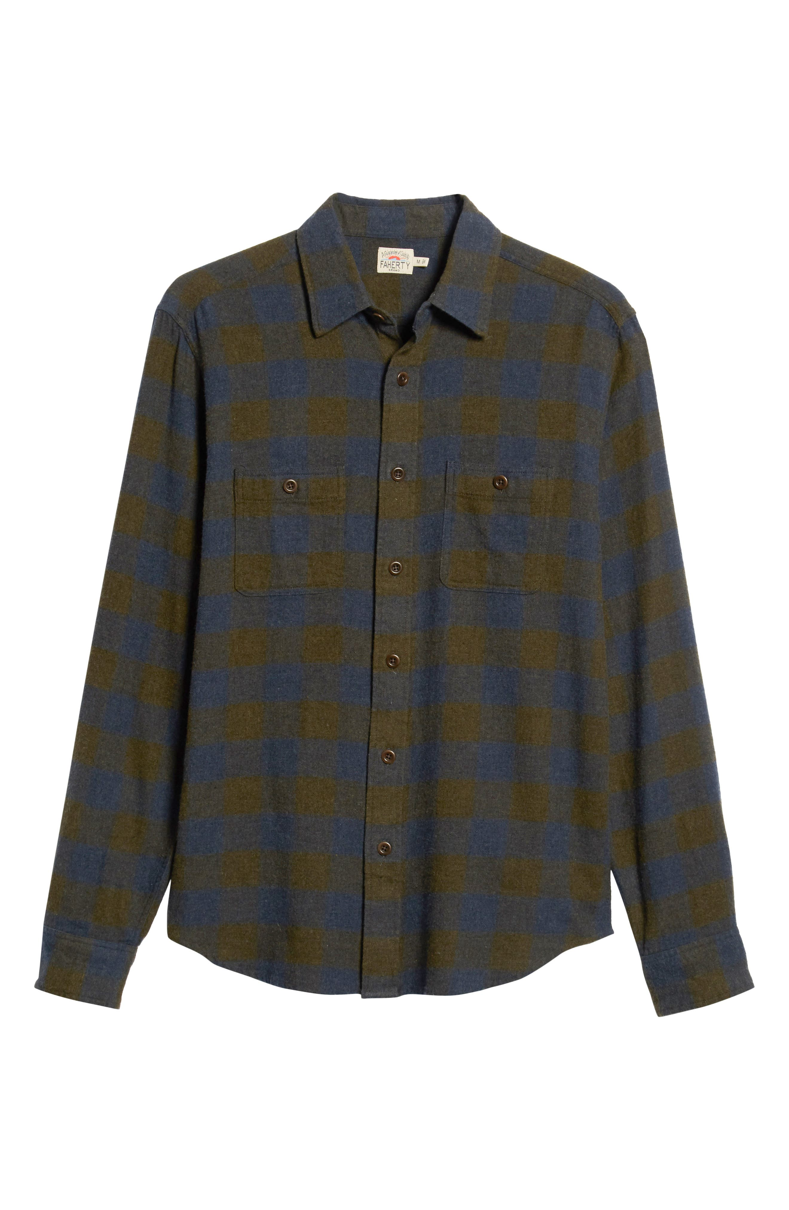 Seasons Check Flannel Shirt,                             Alternate thumbnail 5, color,                             NAVY OLIVE BUFFALO