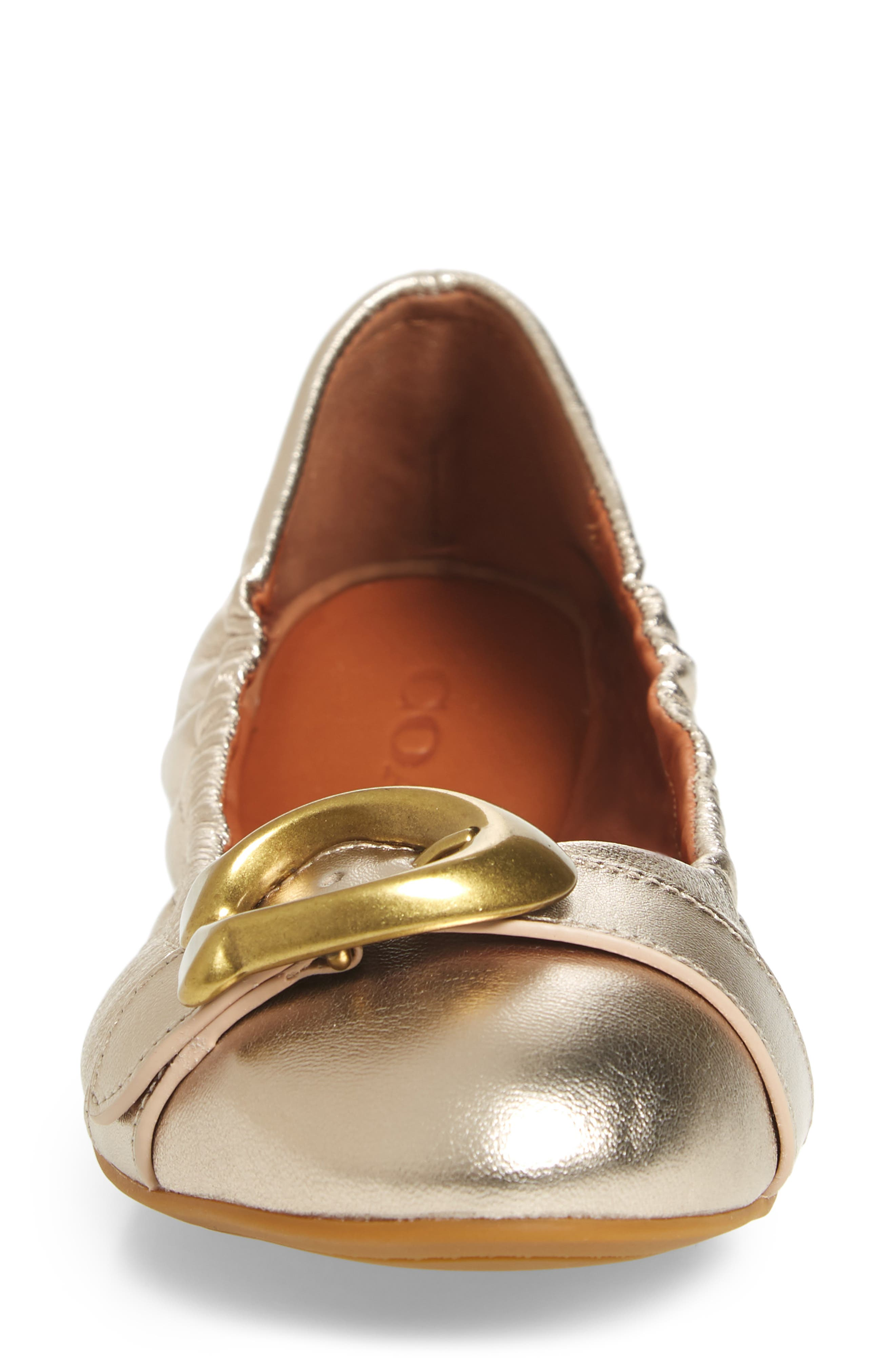 Stanton Buckle Flat,                             Alternate thumbnail 4, color,                             CHAMPAGNE METALLIC LEATHER
