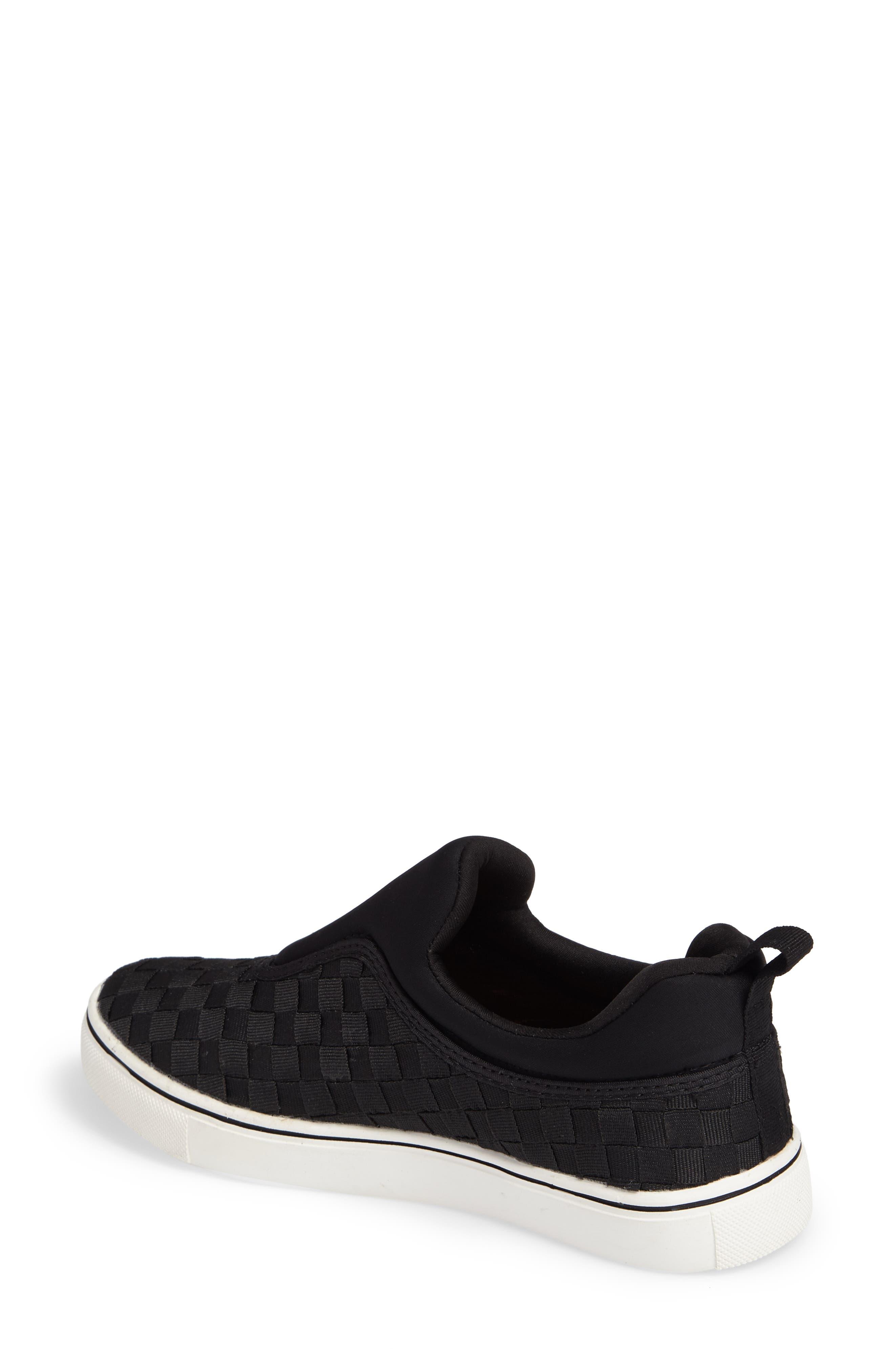 Bernie Mev Joan Slip-On Sneaker,                             Alternate thumbnail 2, color,                             BLACK/ BLACK FABRIC