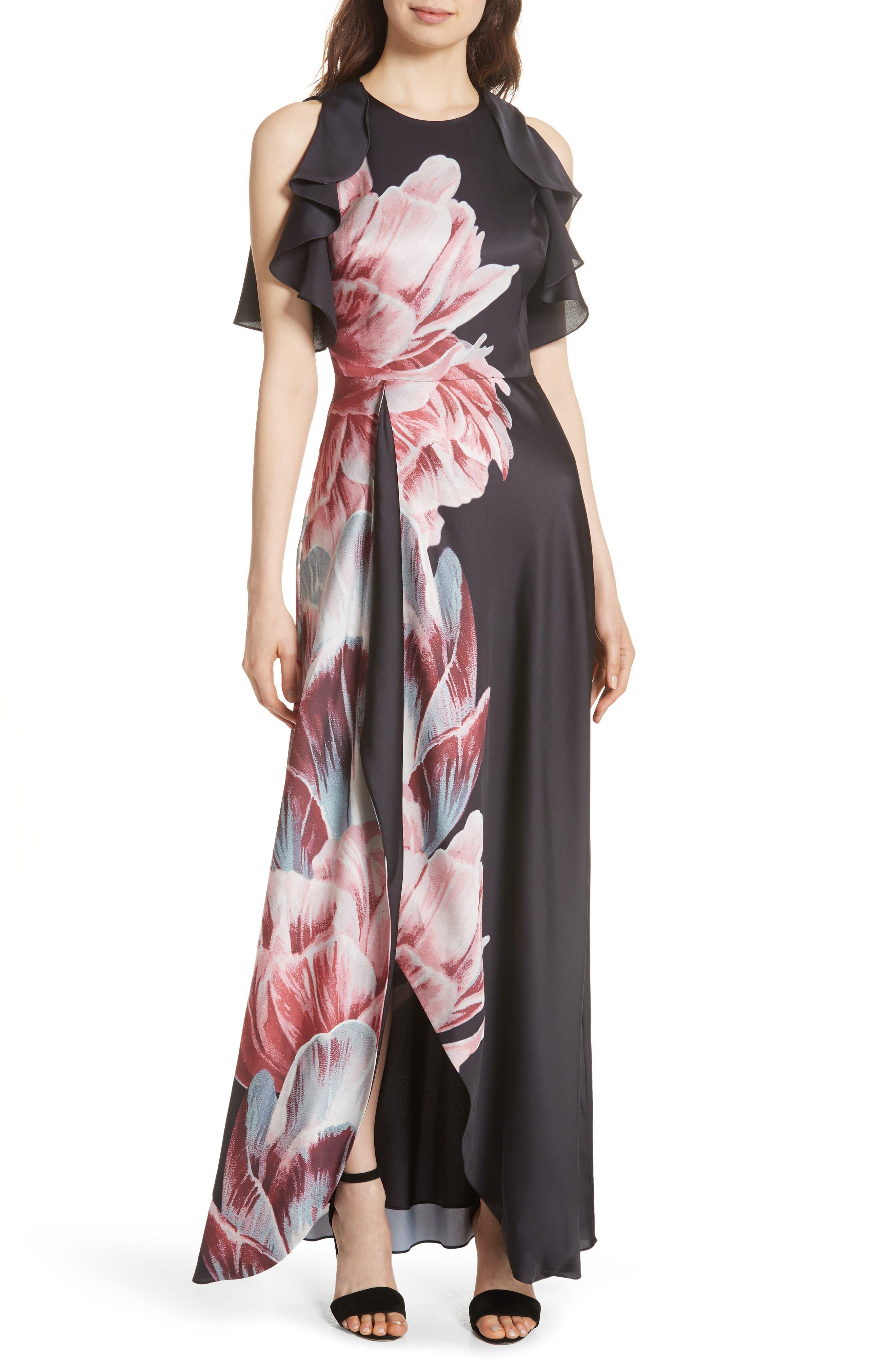Ulrika Tranquility Ruffle Maxi Dress,                         Main,                         color, BLACK