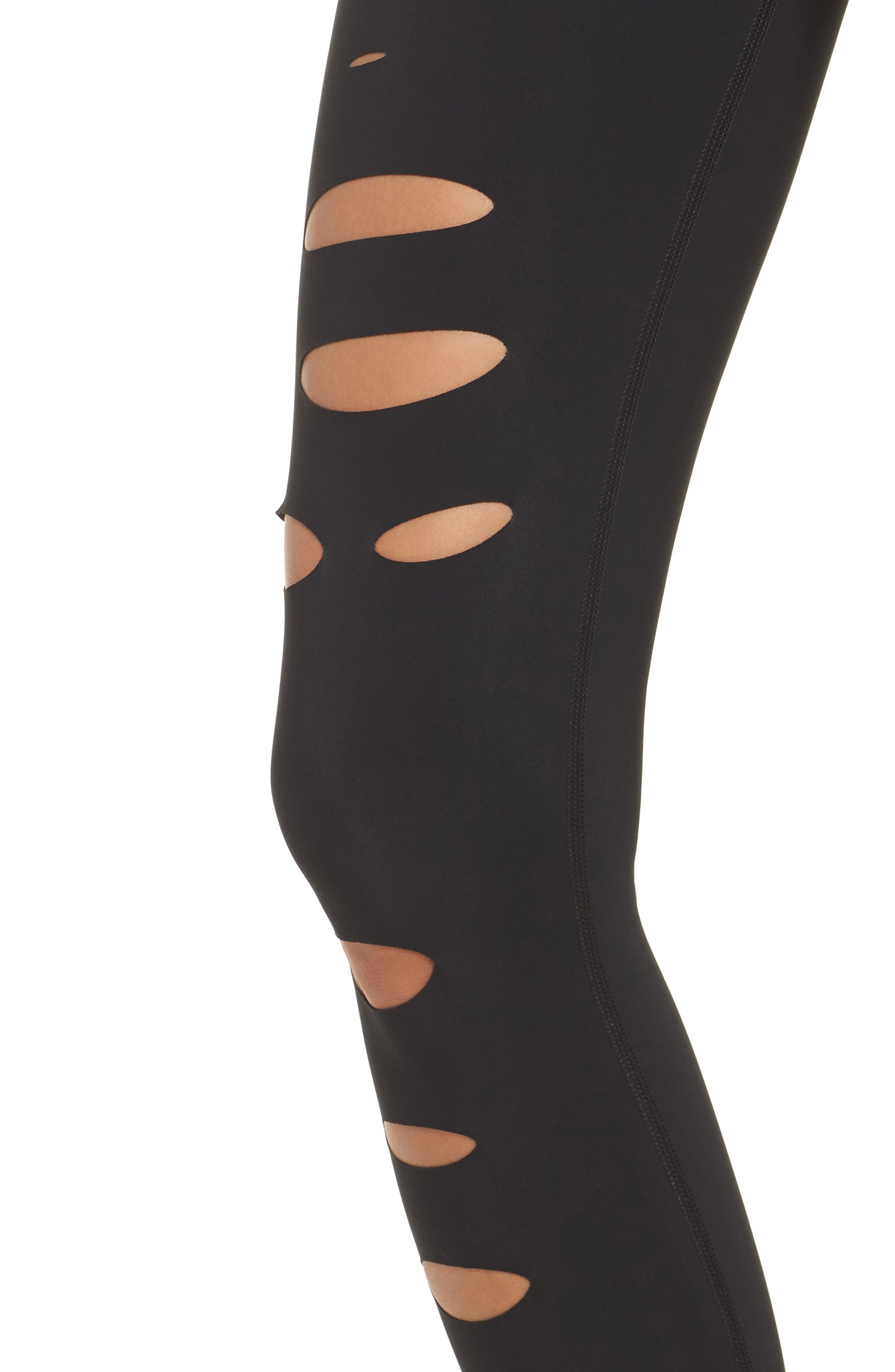 Ripped Warrior Midi Leggings,                             Alternate thumbnail 4, color,                             001