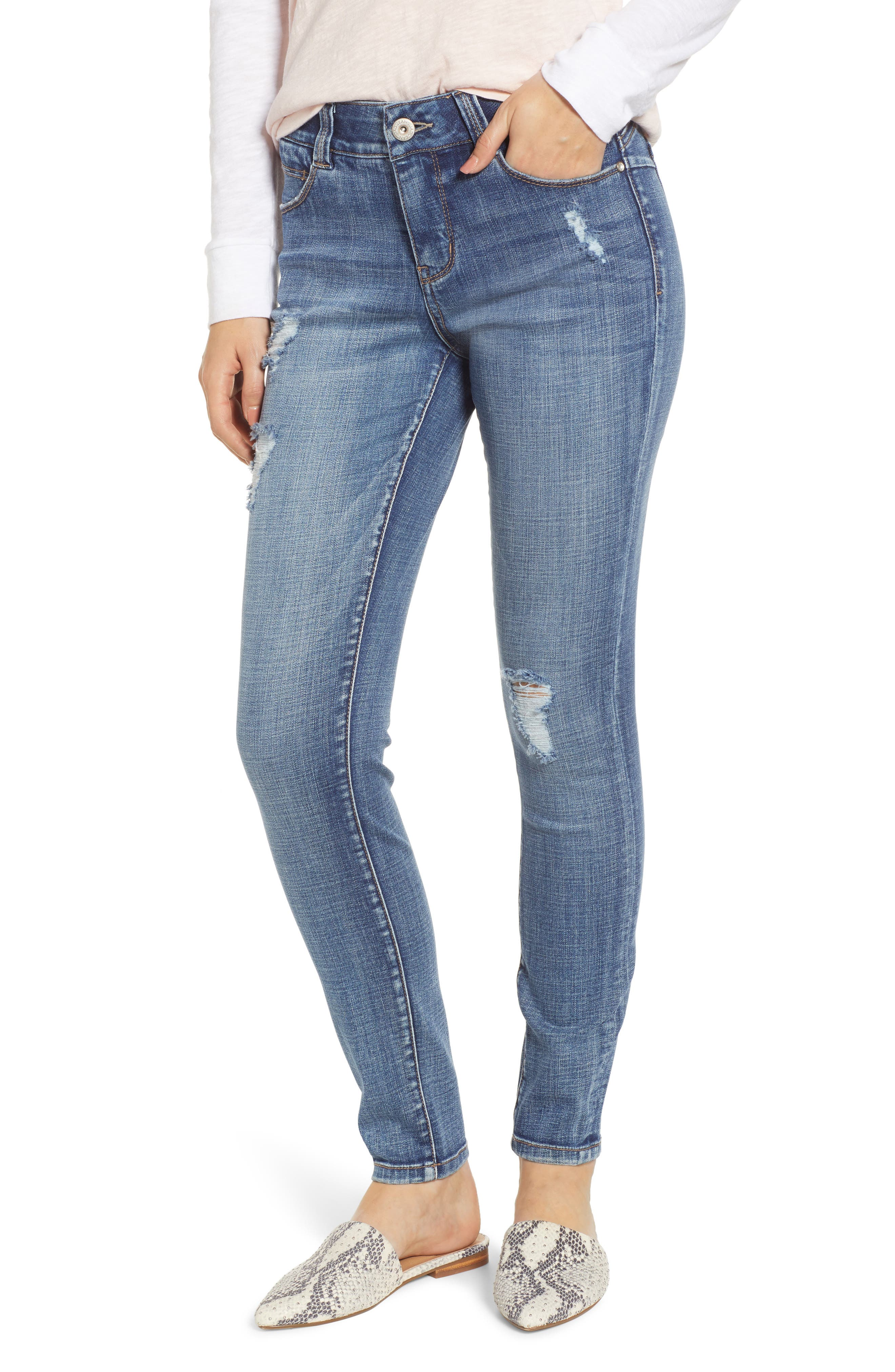JAG JEANS Cecilia Distressed Skinny Jeans in Mid Vintage