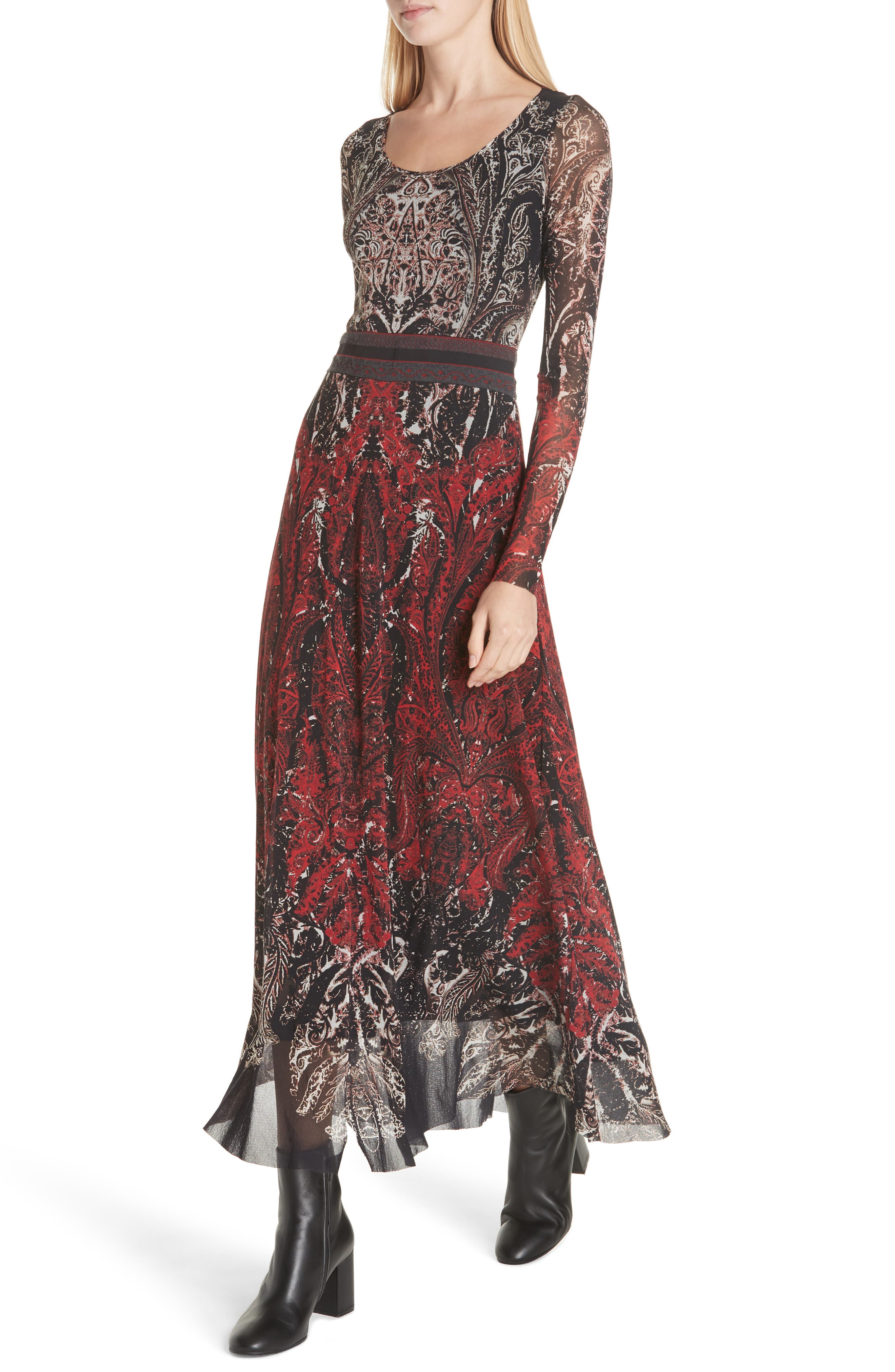 Paisley Tulle Two-Way Dress,                             Alternate thumbnail 6, color,                             ROSSO