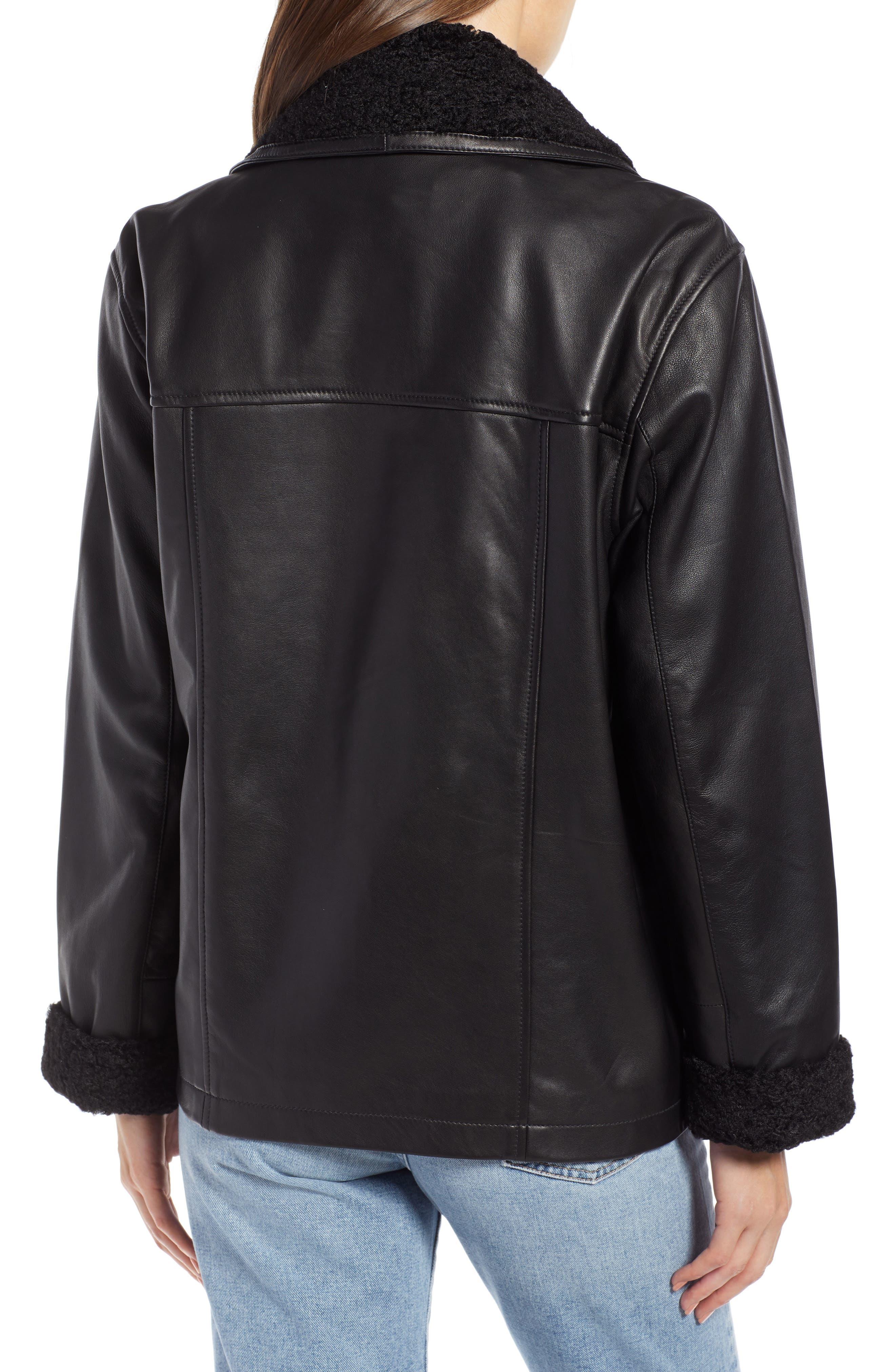 SOMETHING NAVY,                             Aviator Leather Jacket,                             Alternate thumbnail 2, color,                             001