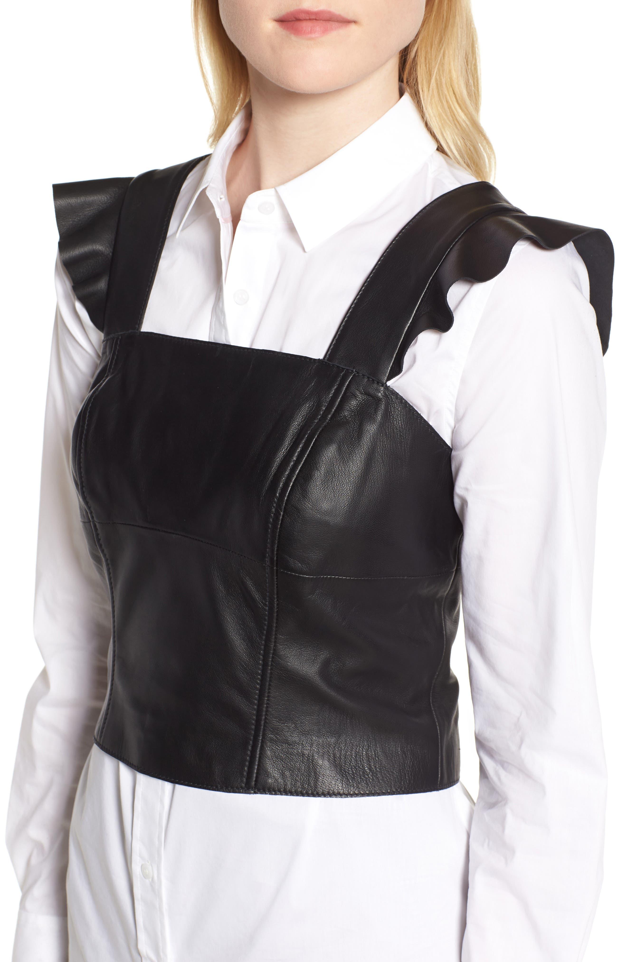 Flutter Sleeve Leather Bustier,                             Alternate thumbnail 5, color,                             BLACK