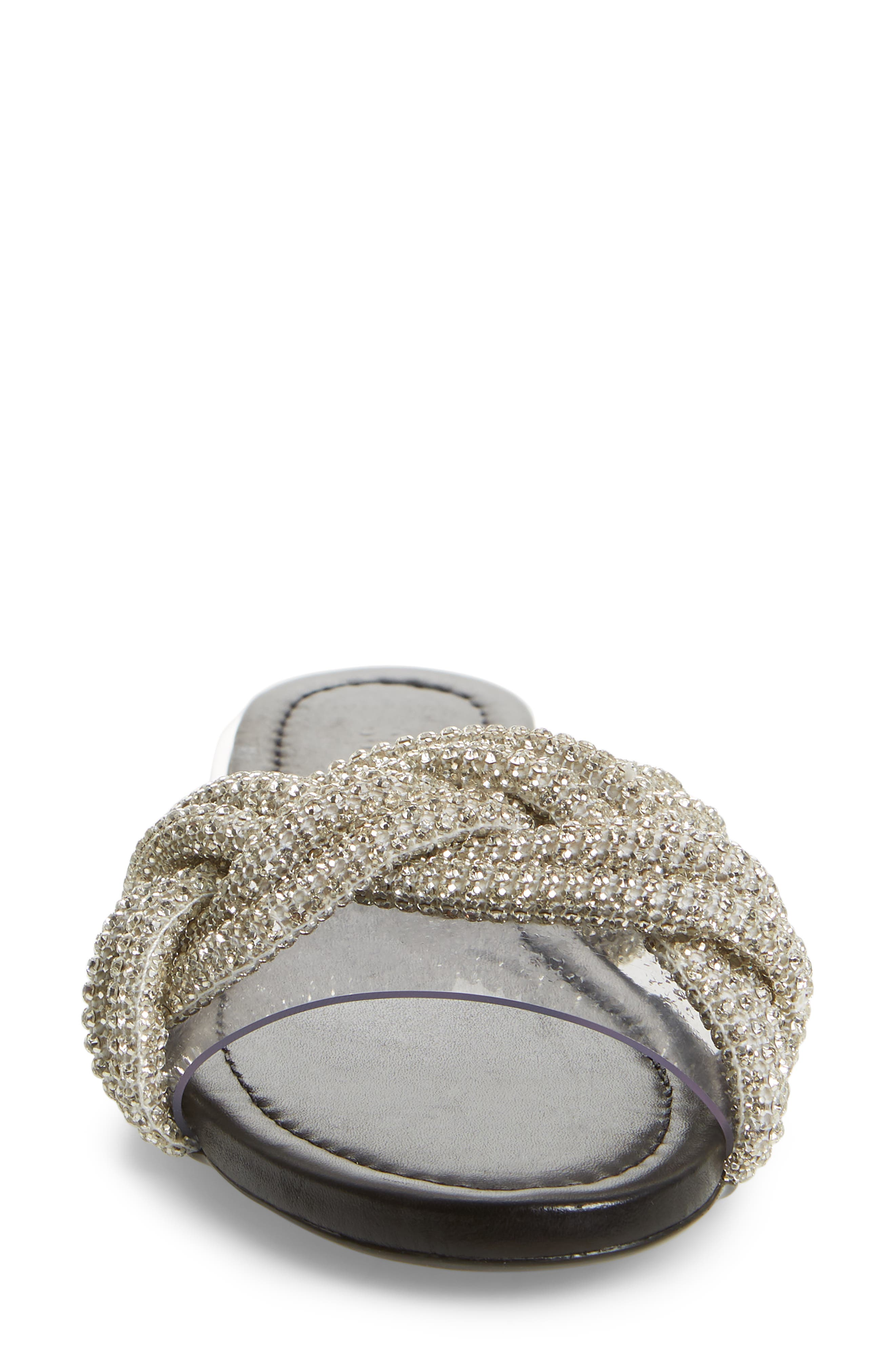 Lindy Braided Slide Sandal,                             Alternate thumbnail 4, color,                             SILVER METALLIC