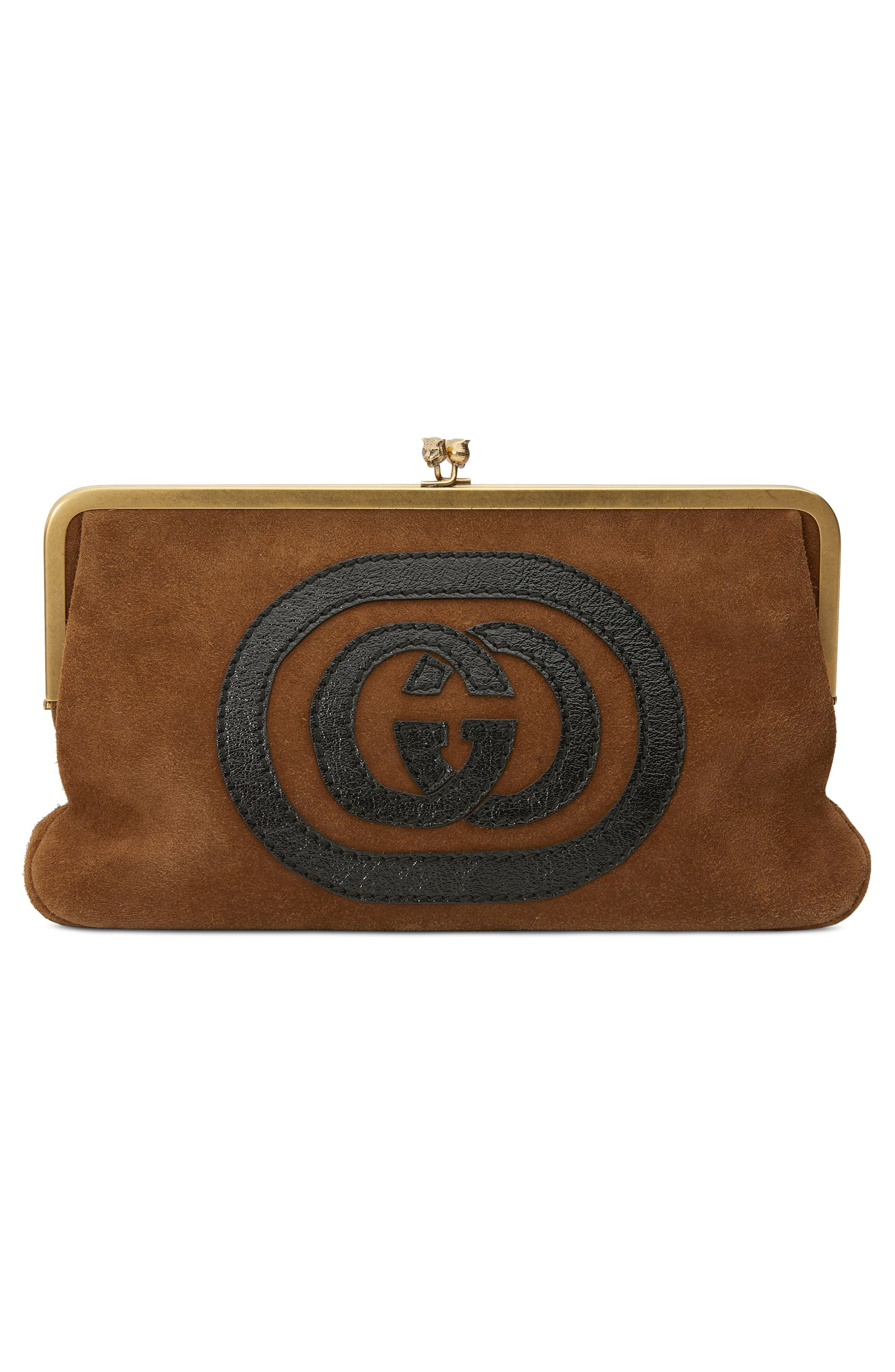 Ophidia Suede Frame Clutch,                             Alternate thumbnail 2, color,                             200