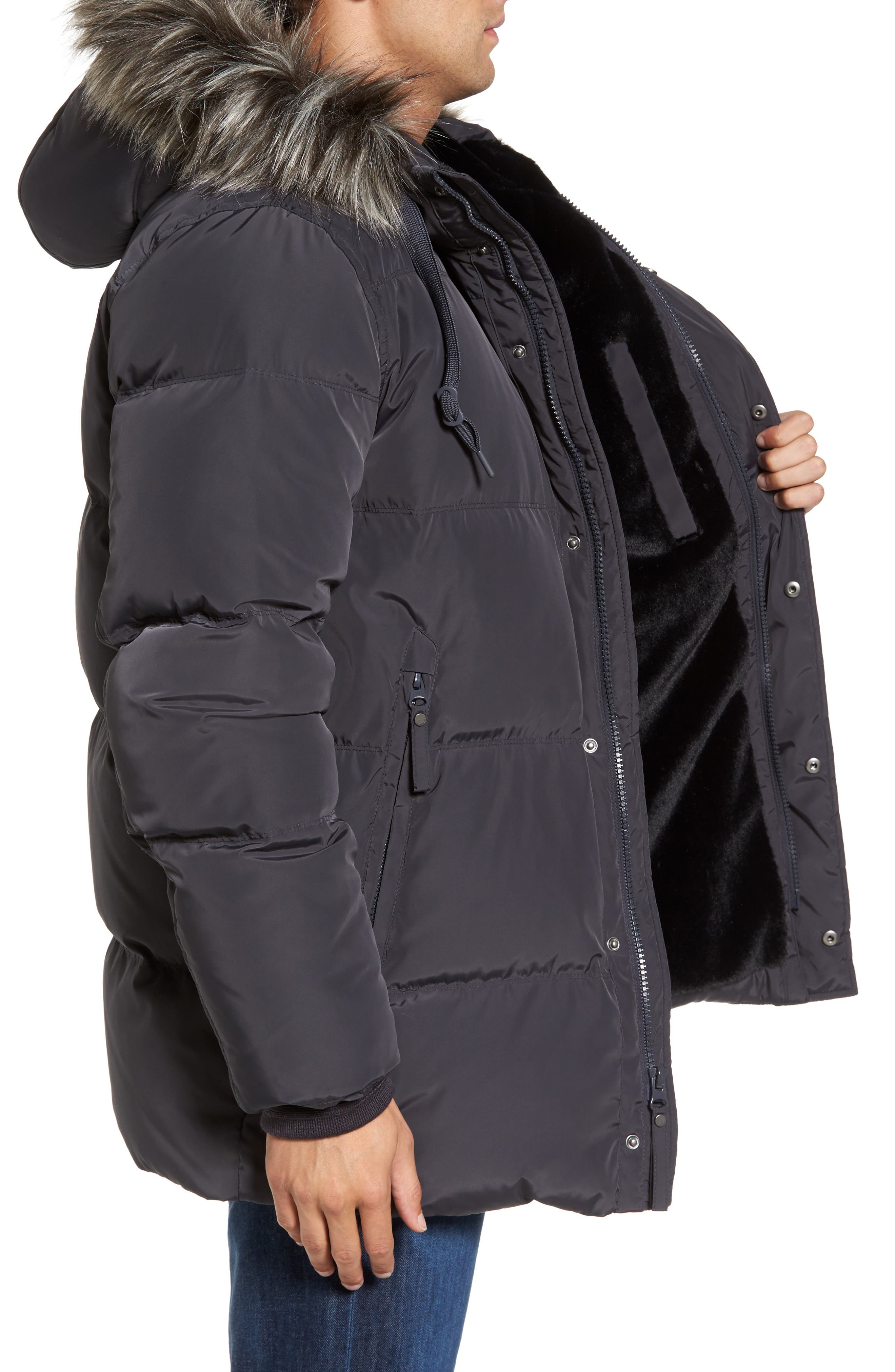 Quilted Down Parka with Faux Fur Trim,                             Alternate thumbnail 3, color,                             070