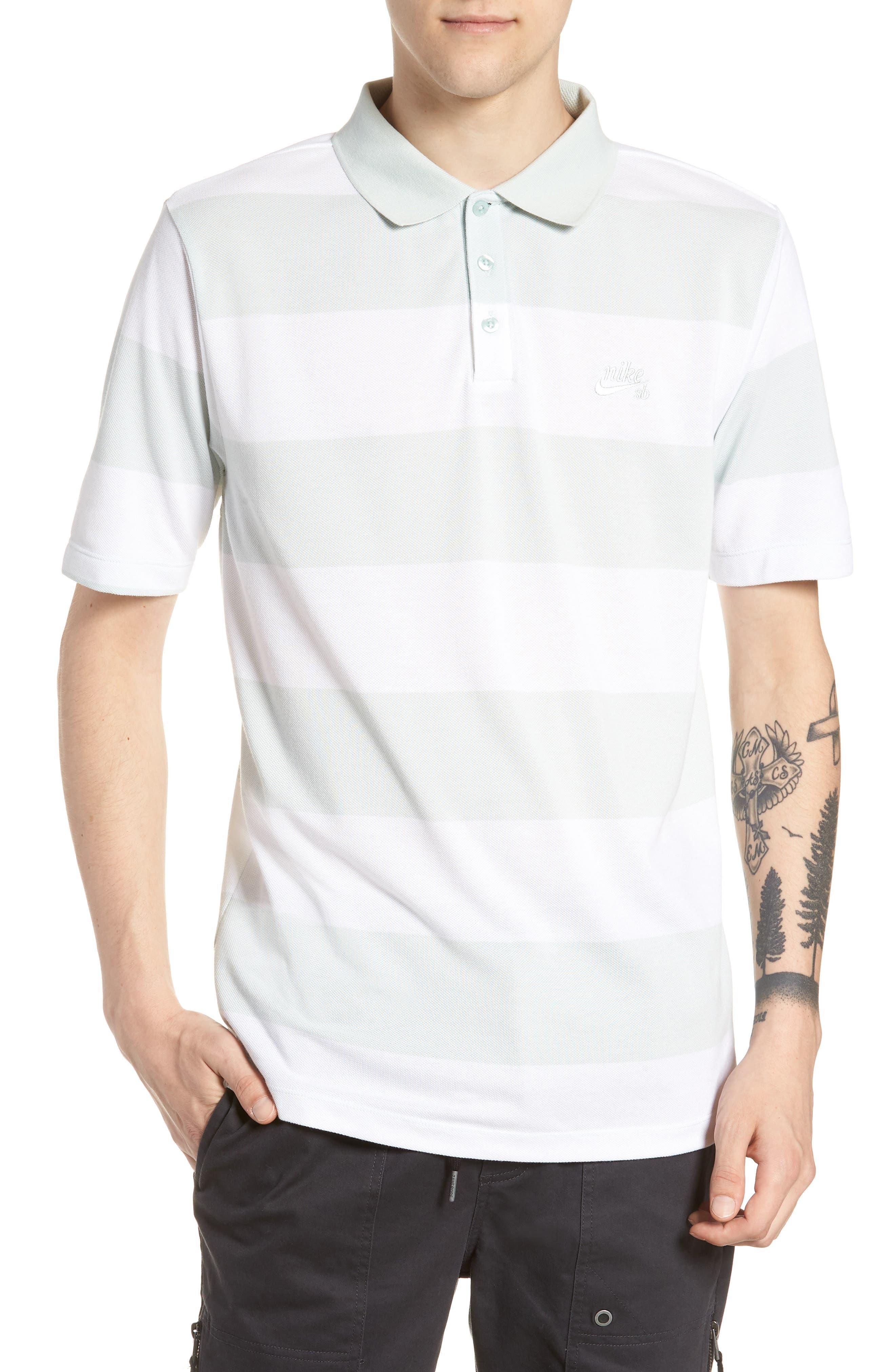 SB Dry Stripe Polo Shirt,                         Main,                         color, BARELY GREY/ BARELY GREY