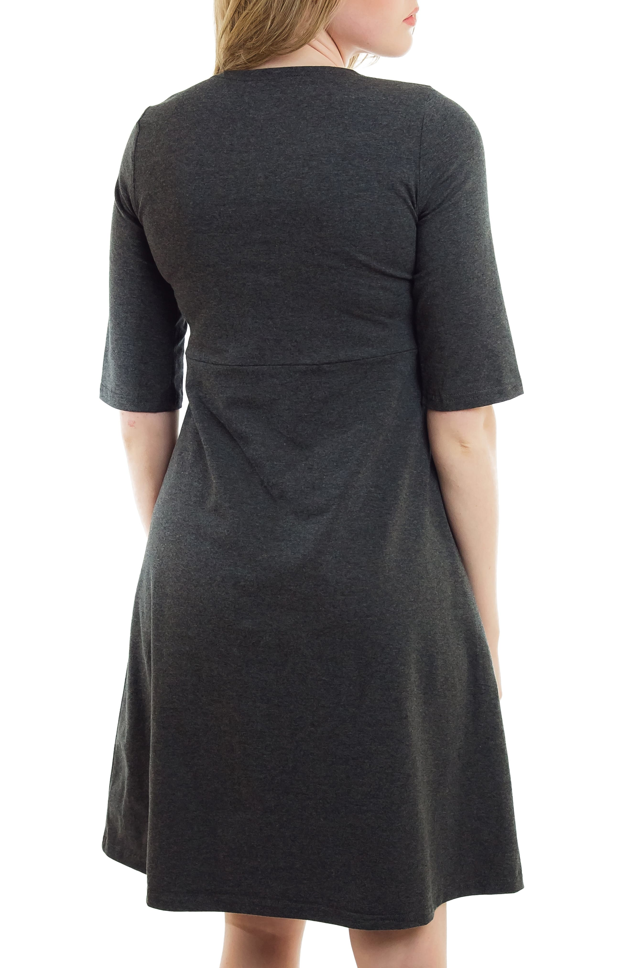 Crossover Maternity/Nursing Dress,                             Alternate thumbnail 2, color,                             HEATHER CHARCOAL