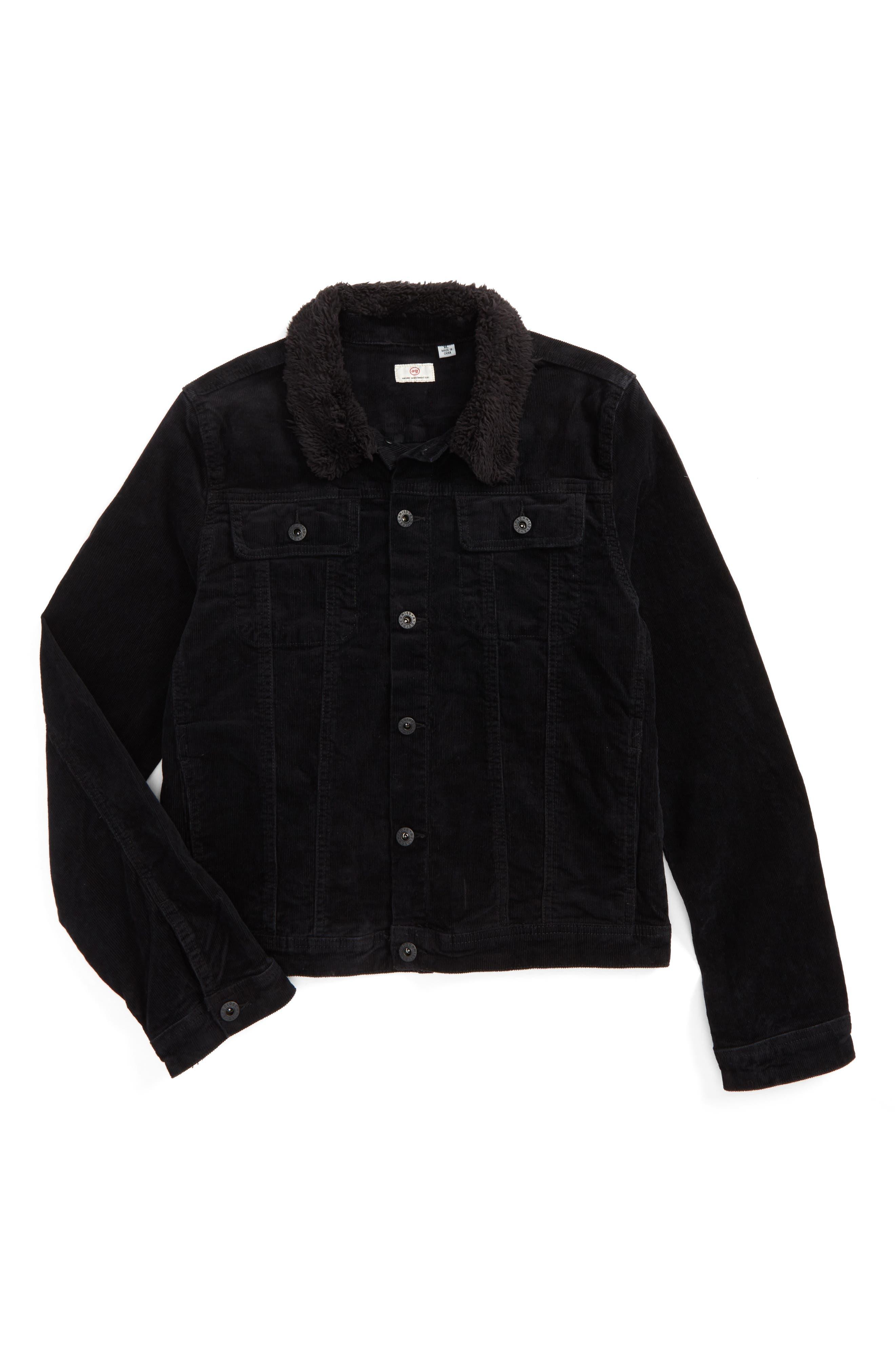 ag adriano goldschmied Brody Plush Collar Corduroy Jacket Collar,                             Main thumbnail 1, color,                             BLACK
