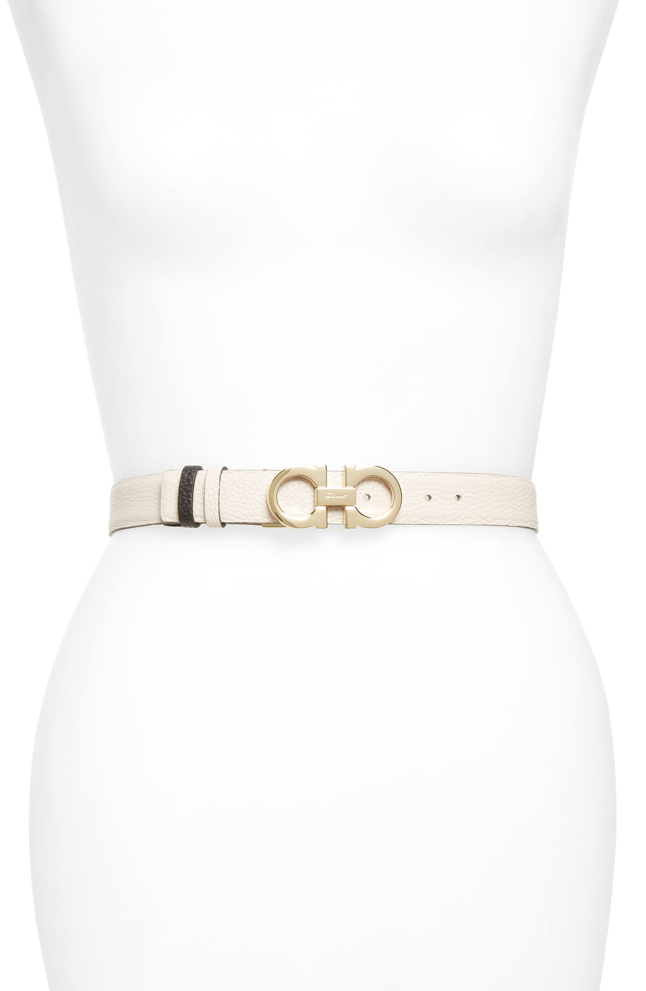 Salvatore Ferragamo Double Gancio Reversible Leather Belt, Jasmine Flower/ Nero