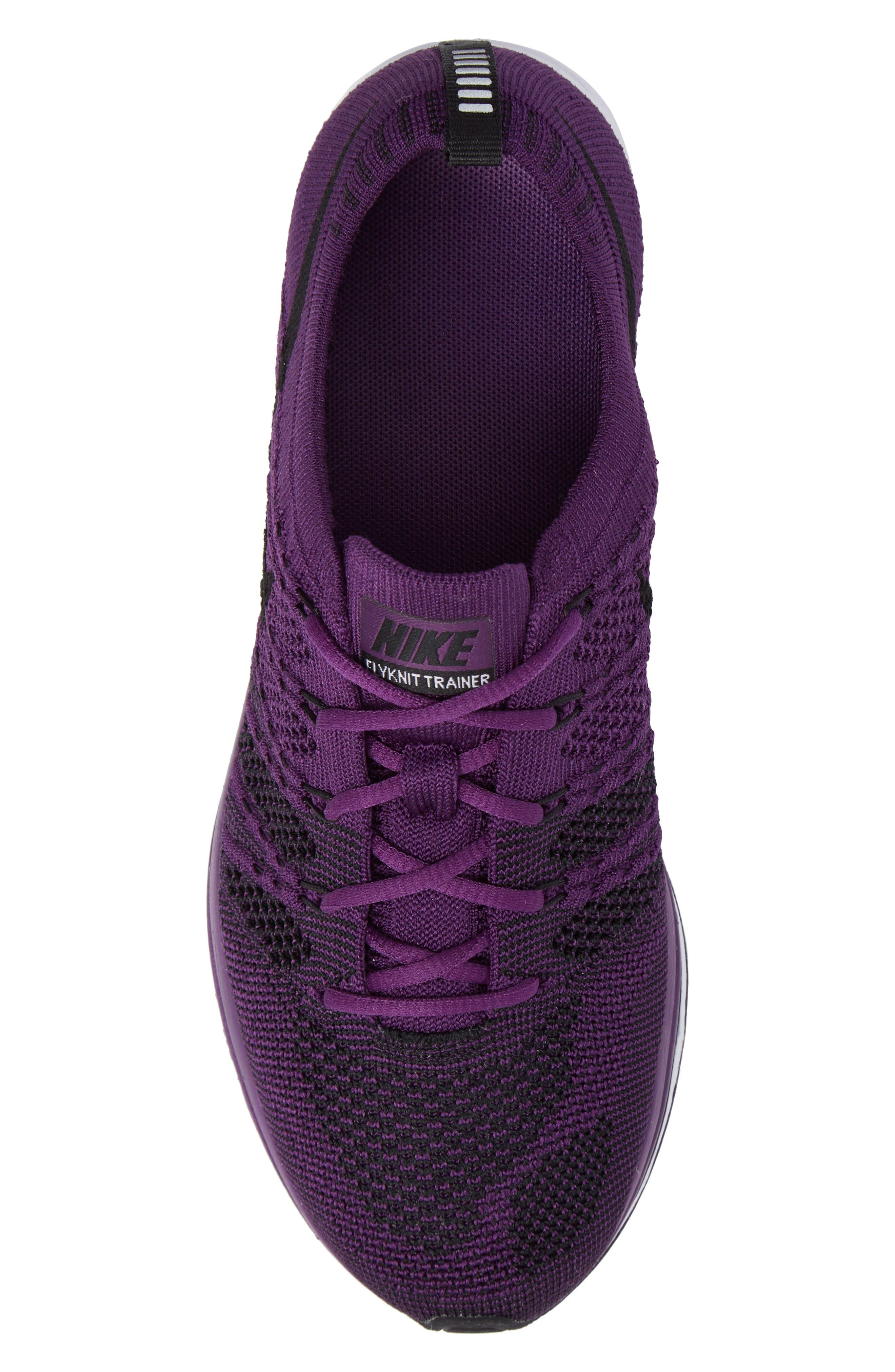 NikeLab Flyknit Trainer Sneaker,                             Alternate thumbnail 5, color,                             NIGHT PURPLE/ BLACK/ WHITE