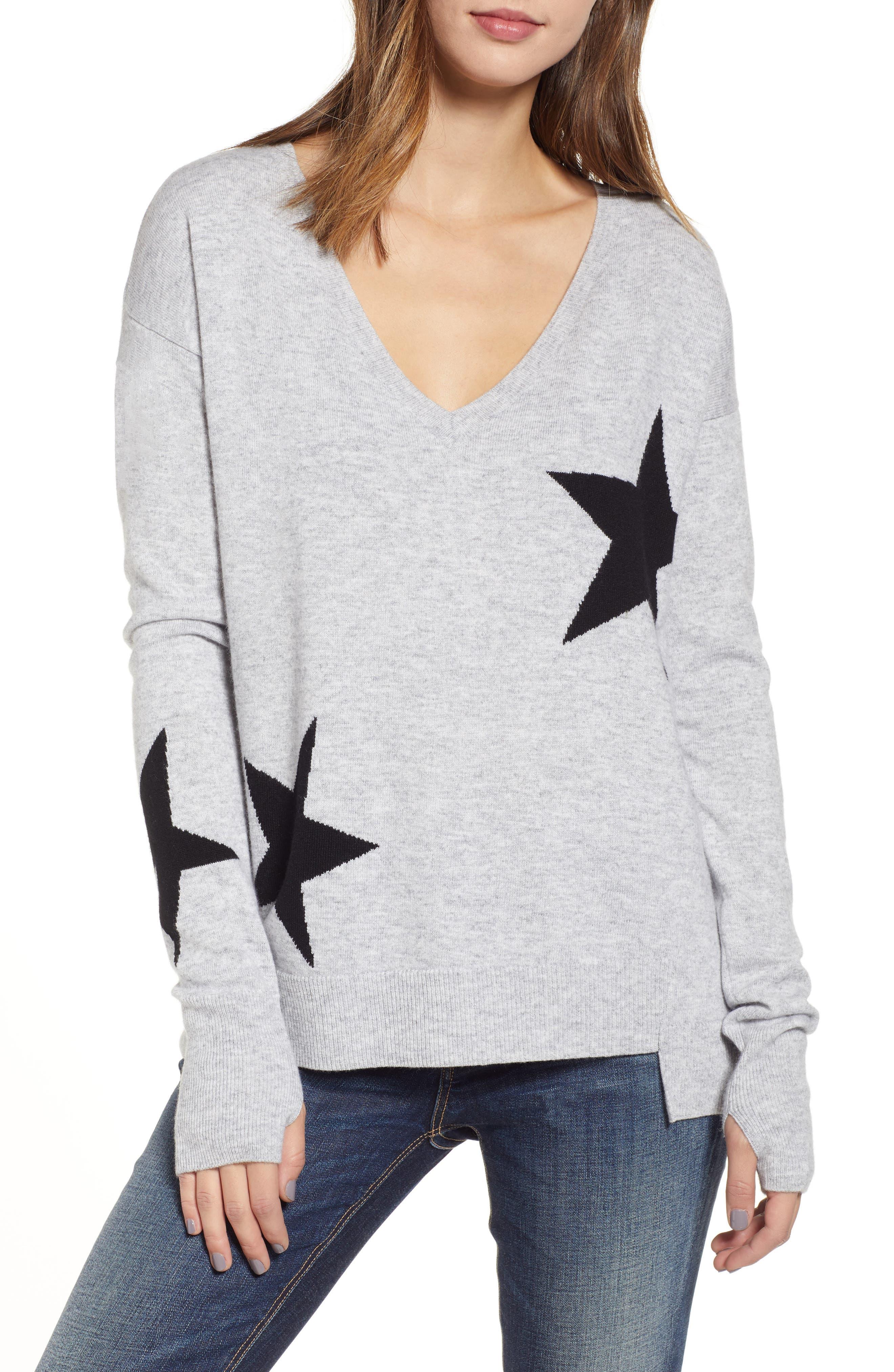Star Intarsia V-Neck Sweater,                             Main thumbnail 1, color,                             HEATHER GREY