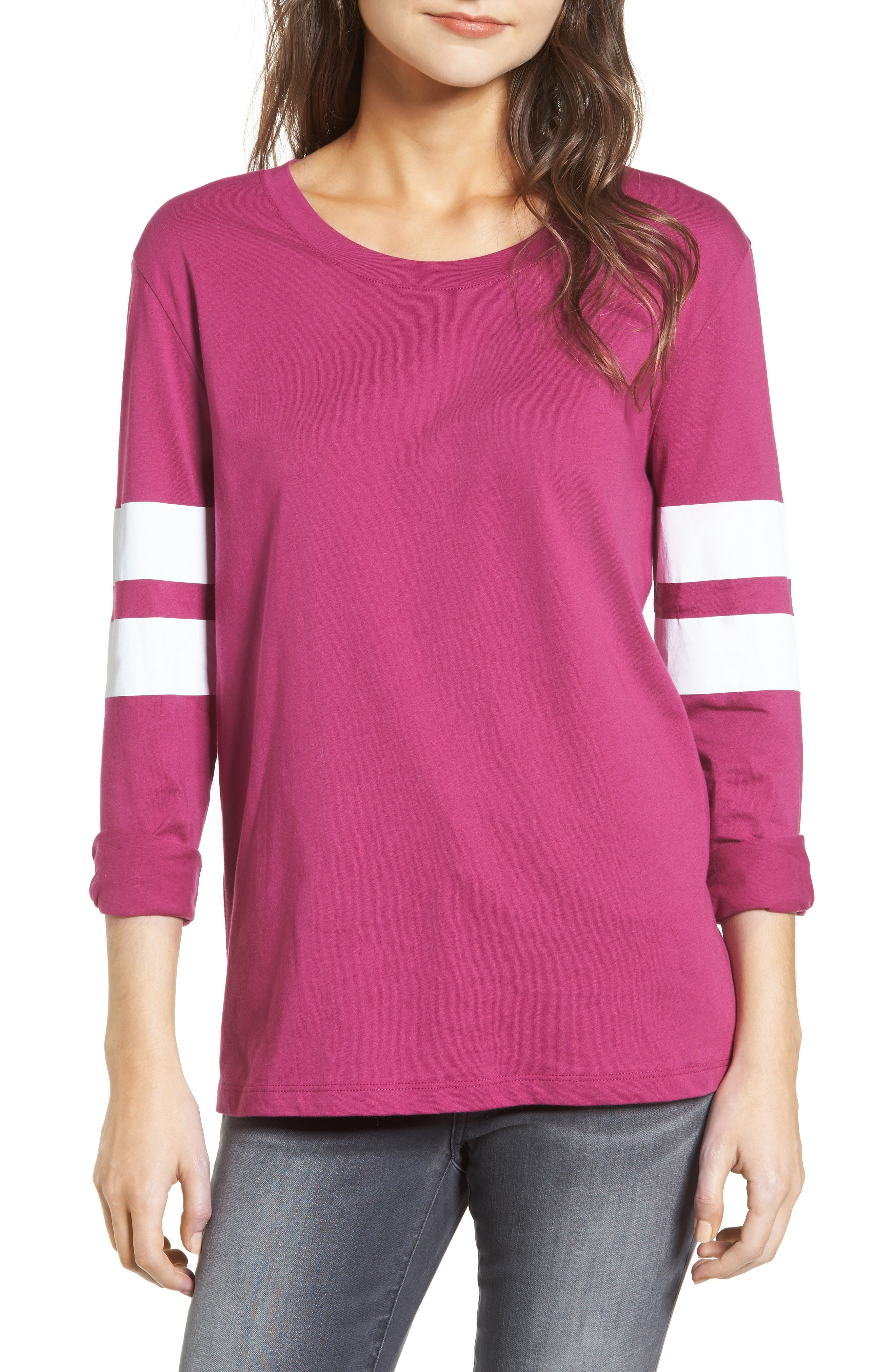 Varsity Stripe Cotton Tee,                             Main thumbnail 14, color,