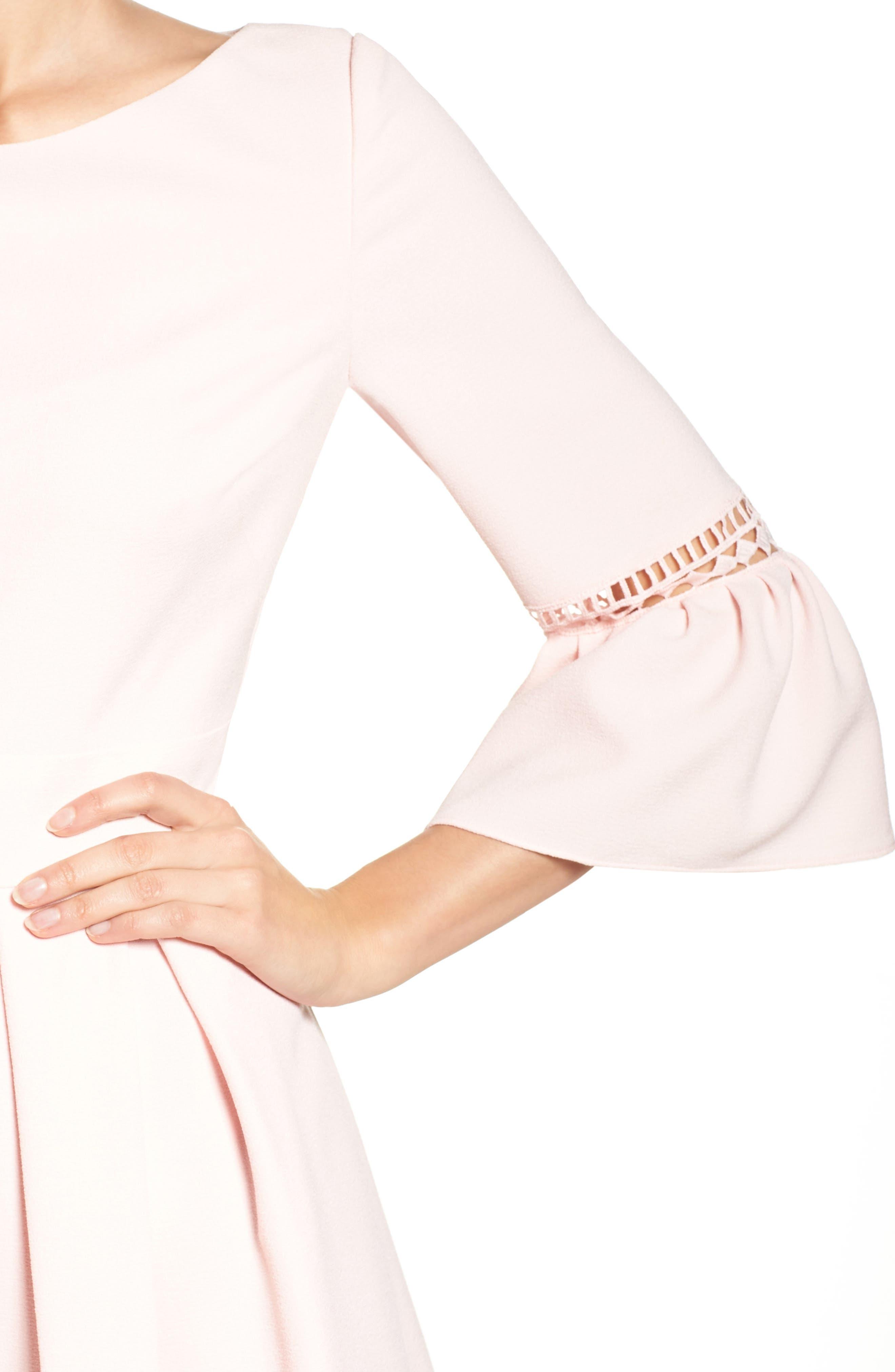 ELIZA J,                             Bell Sleeve Fit & Flare Dress,                             Alternate thumbnail 4, color,                             BLUSH