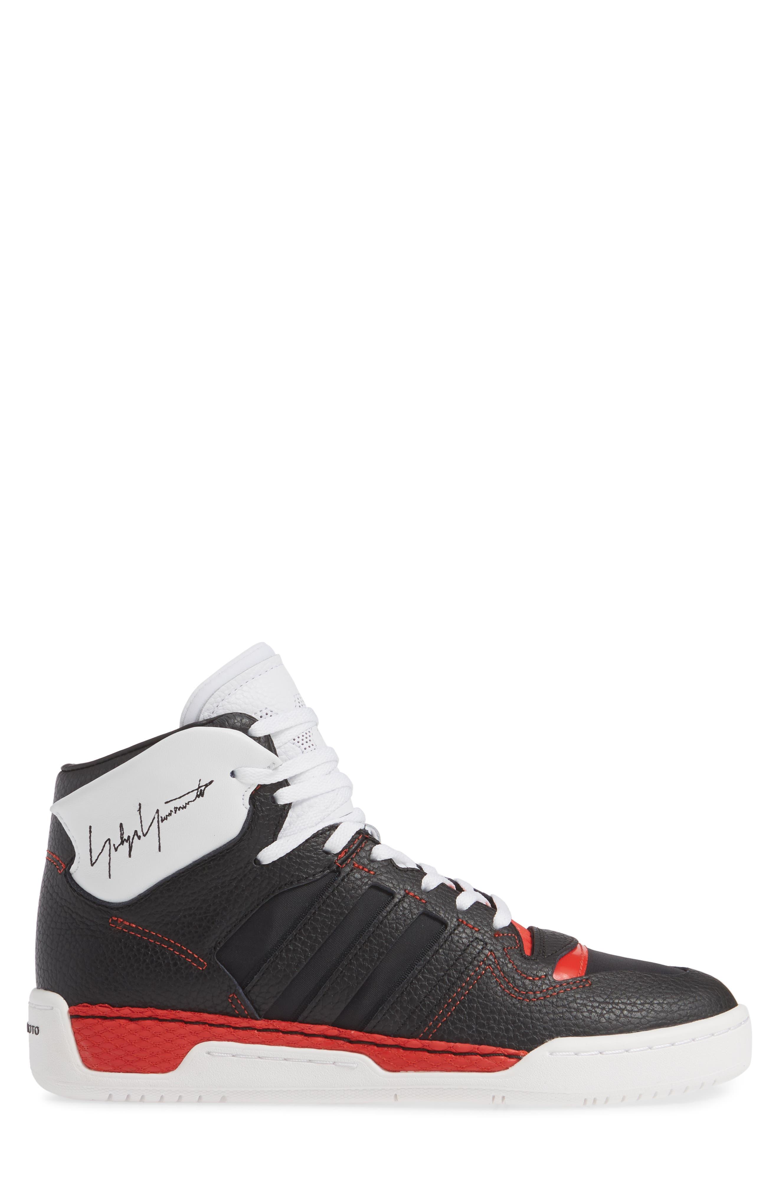 Y-3,                             x adidas Hayworth High Top Sneaker,                             Alternate thumbnail 3, color,                             BLACK/ BLACK/ RED
