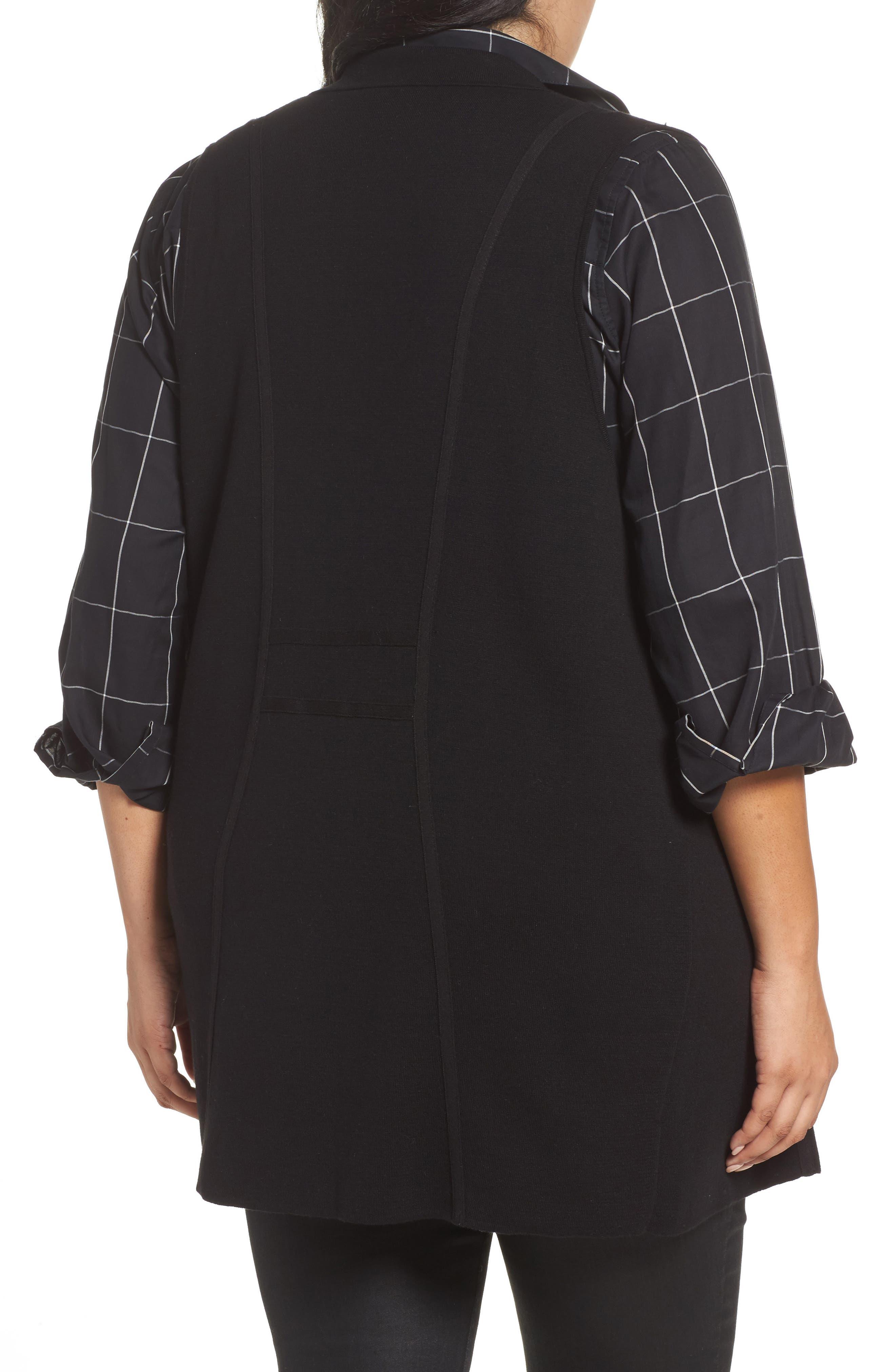 Jodi Longline Sweater Vest,                             Alternate thumbnail 2, color,                             BLACK