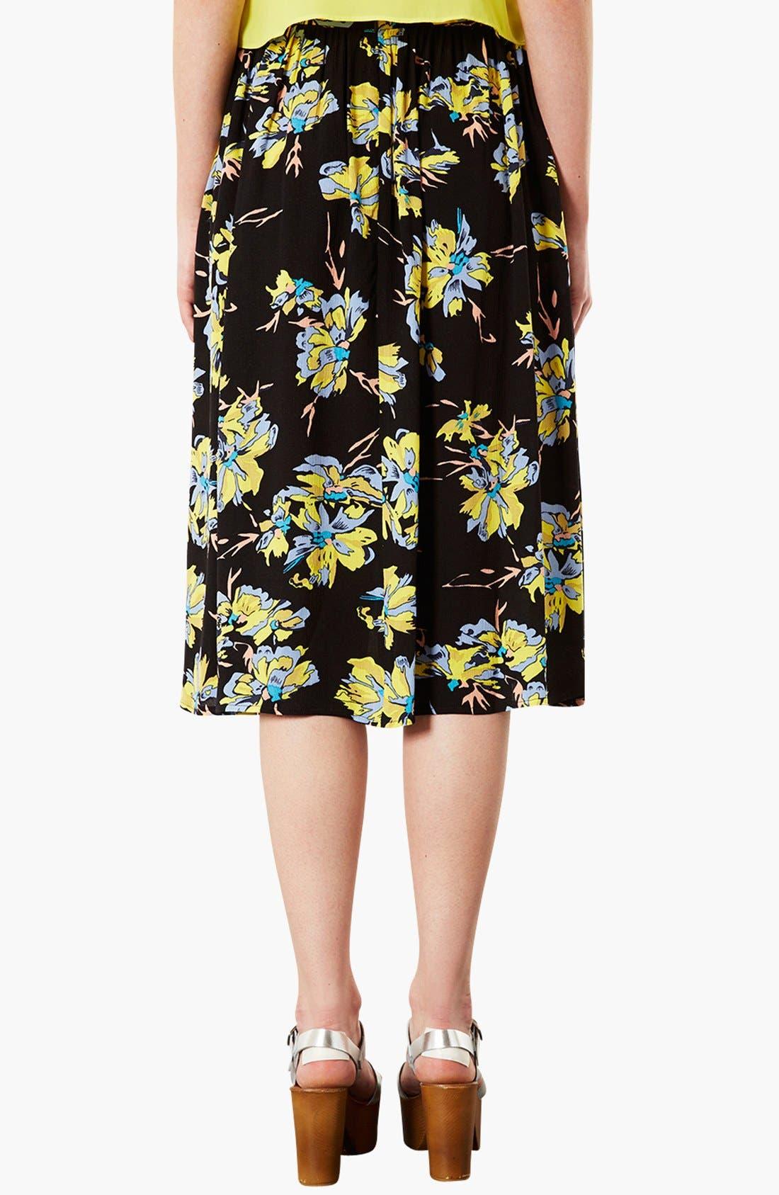 TOPSHOP,                             Dark Floral Midi Skirt,                             Alternate thumbnail 3, color,                             001