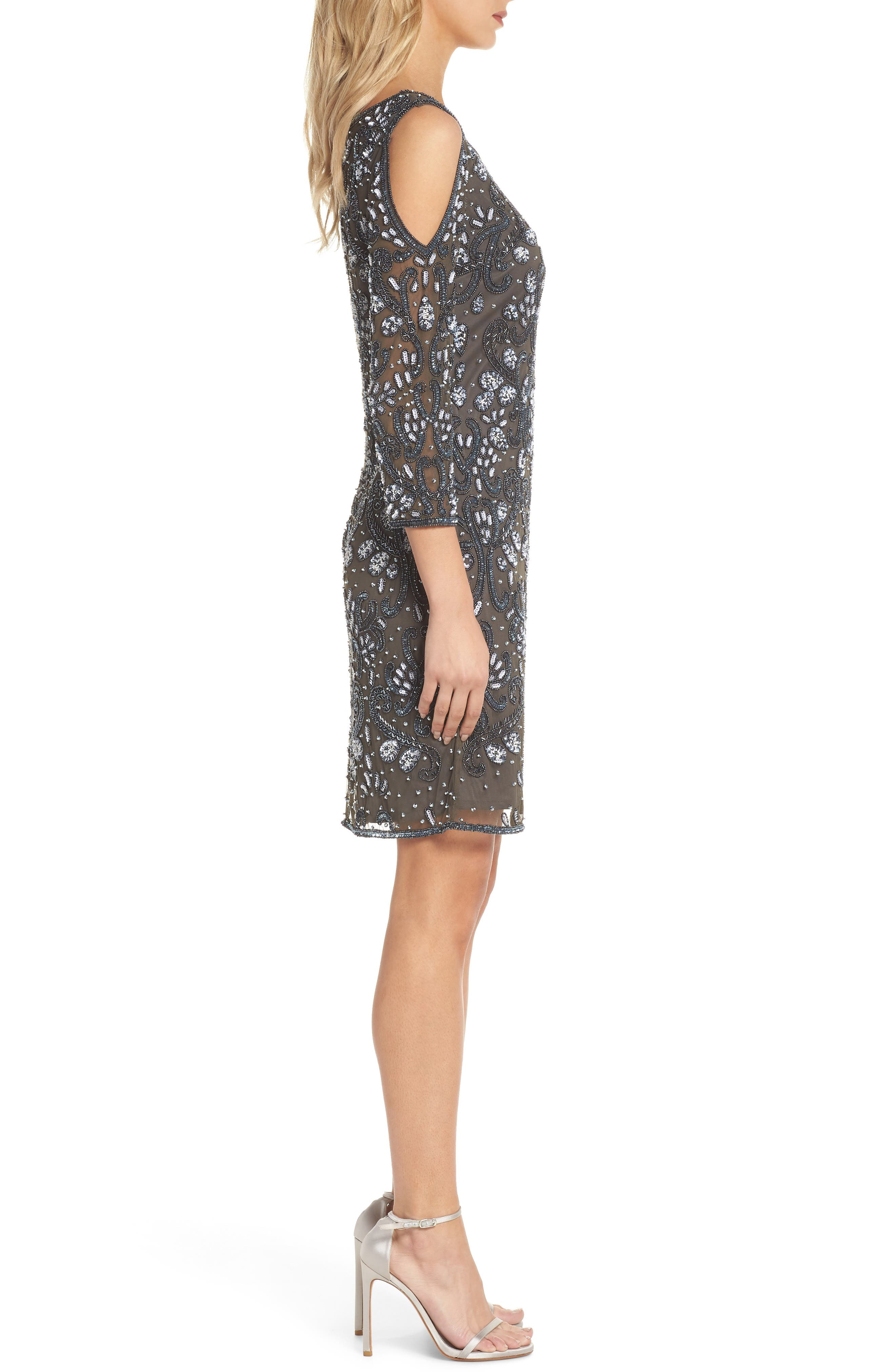 Embellished Mesh Sheath Dress,                             Alternate thumbnail 3, color,                             021