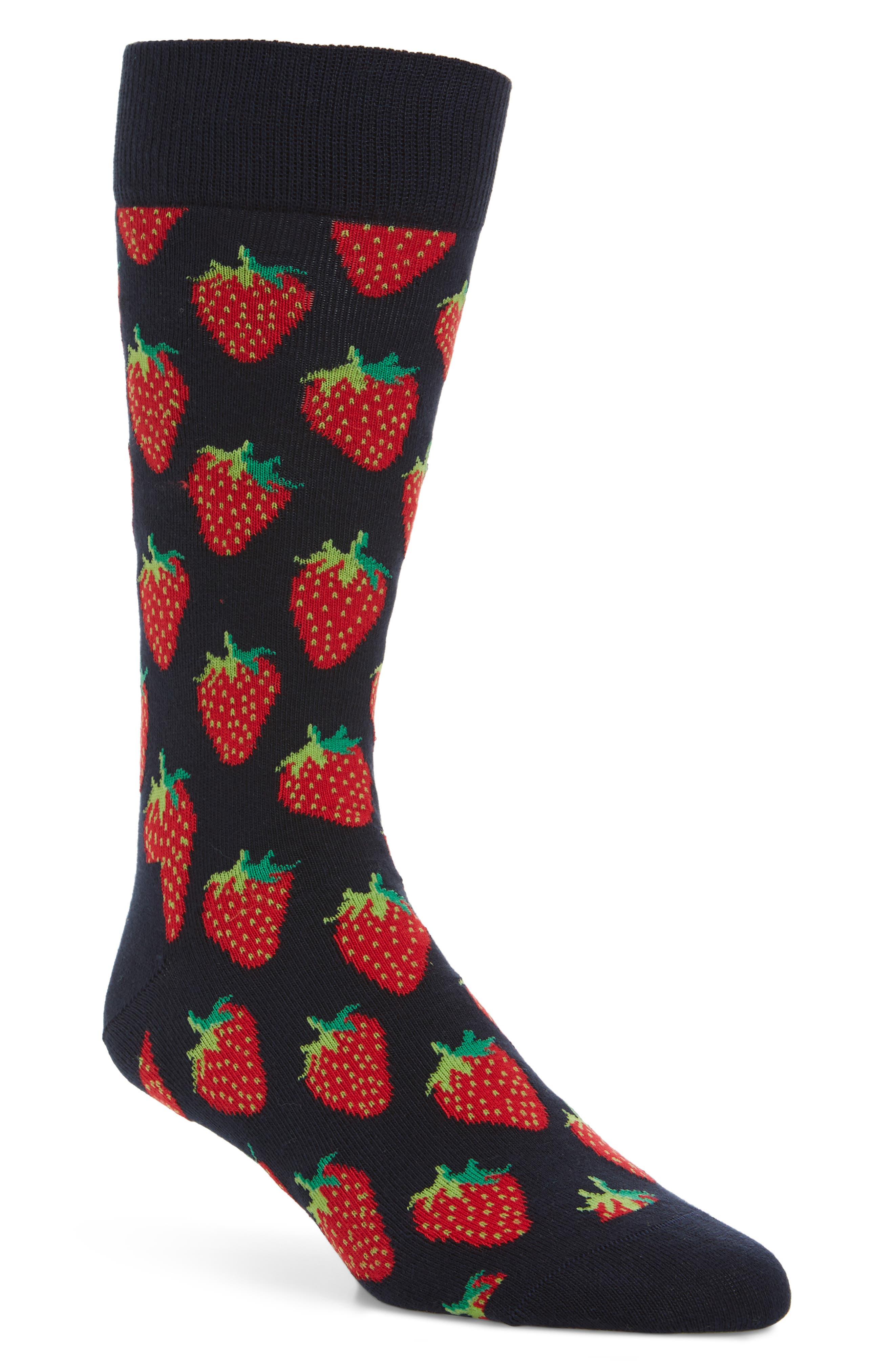 Strawberry Socks,                         Main,                         color, NAVY/ RED